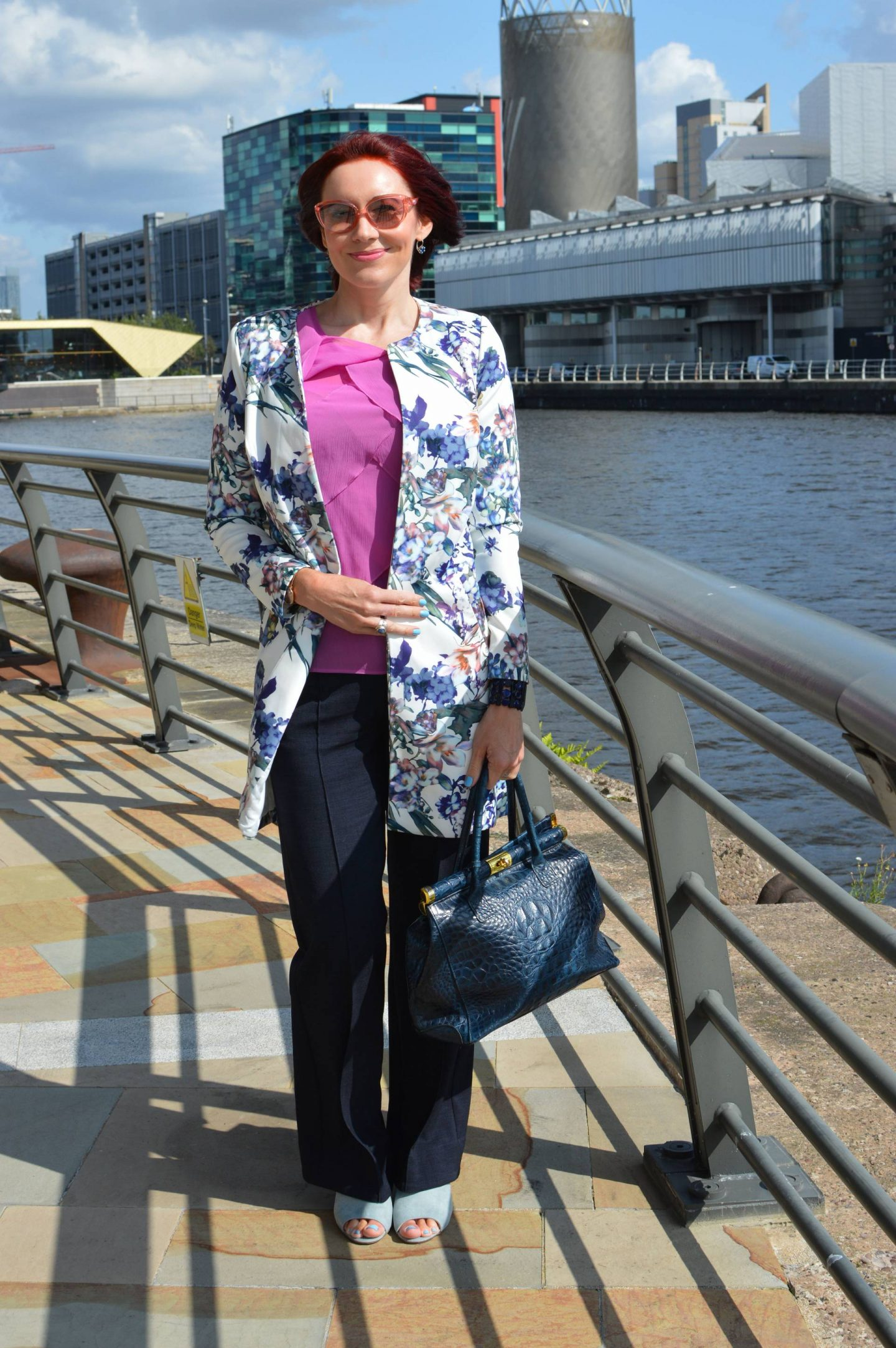JD Williams Floral Print Longline Jacket and Navy Trousers