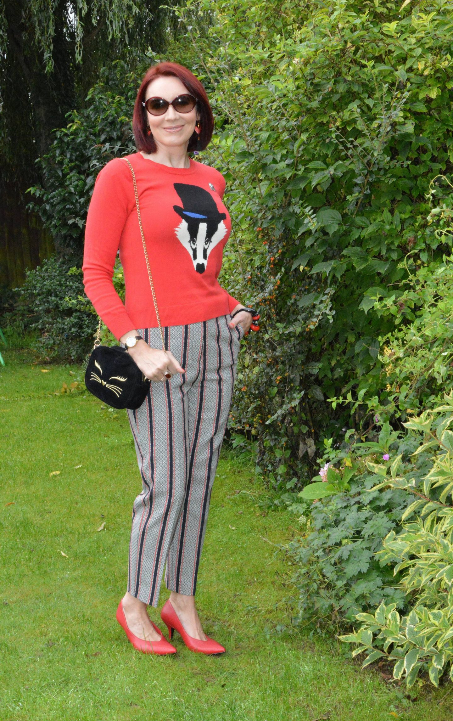 Louche badger jumper, River Island striped trousers