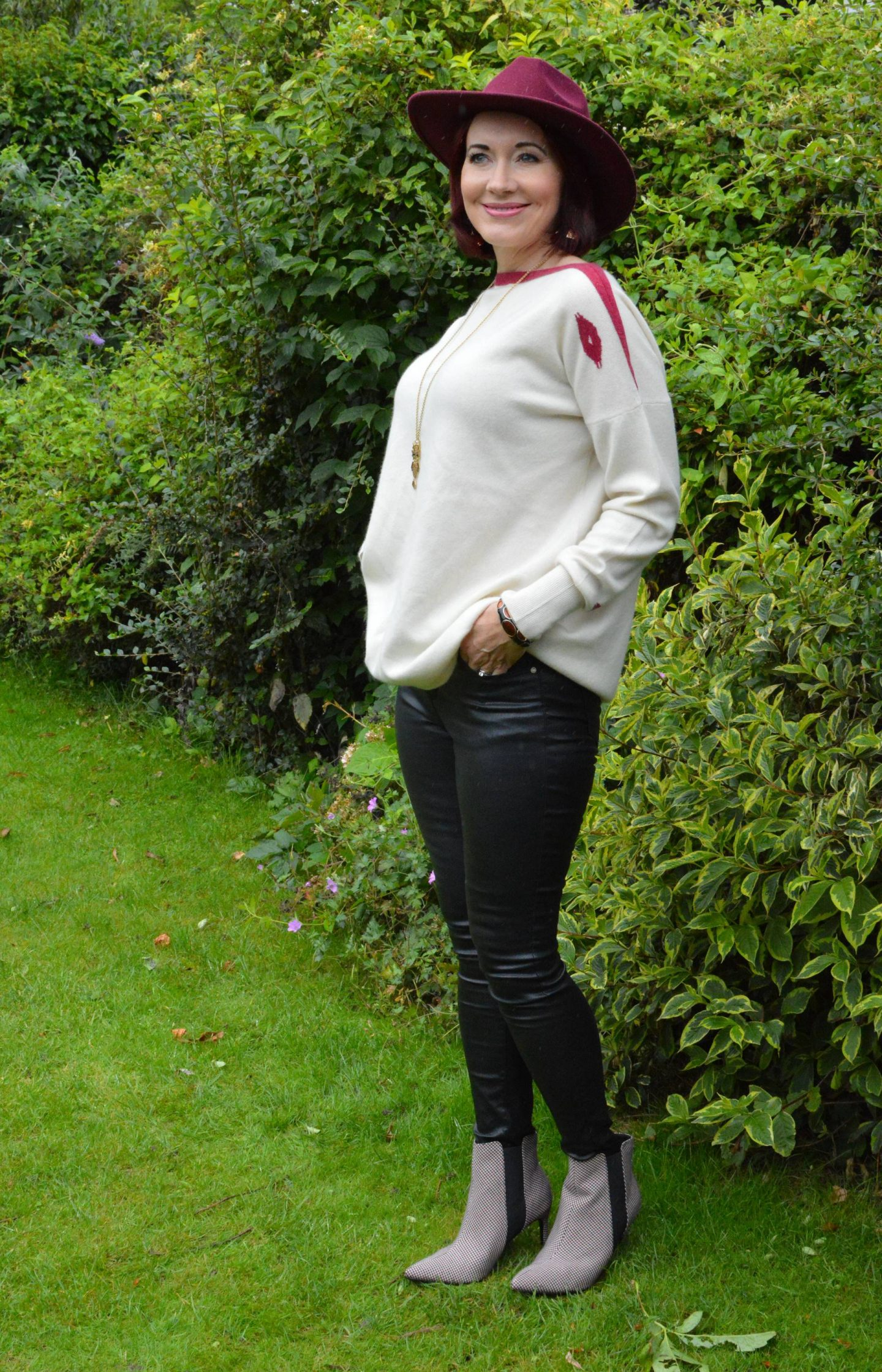 Jacynth Enigma Cashmere Jumper and Faux Leather Jeans