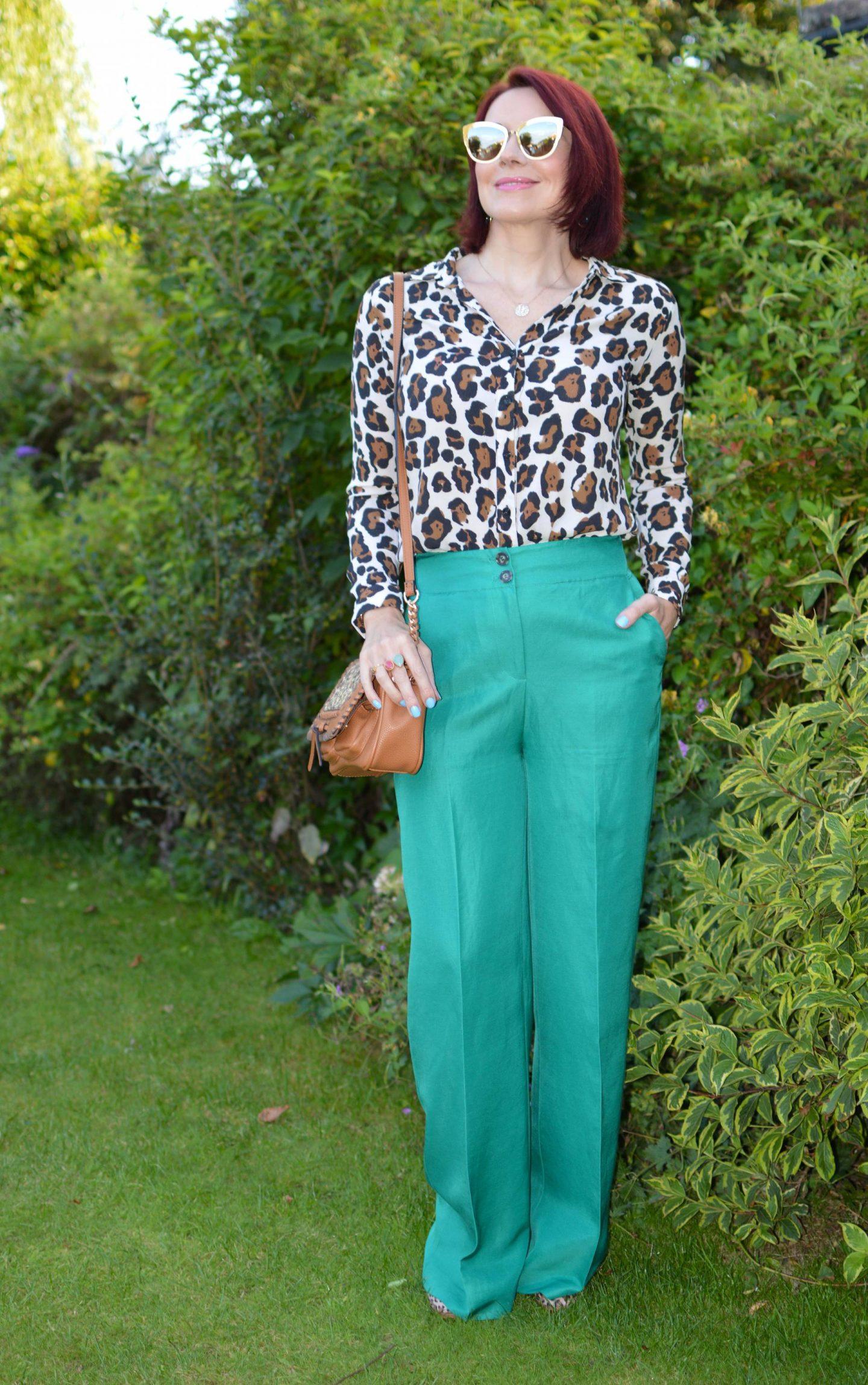 Fabienne Chapot leopard print blouse, Mint Velvet Ivy Green Wide Leg Trouser