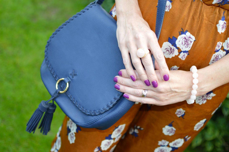 navy Laura Ashley crossbody bag, Ottoman Hands rose gold ring