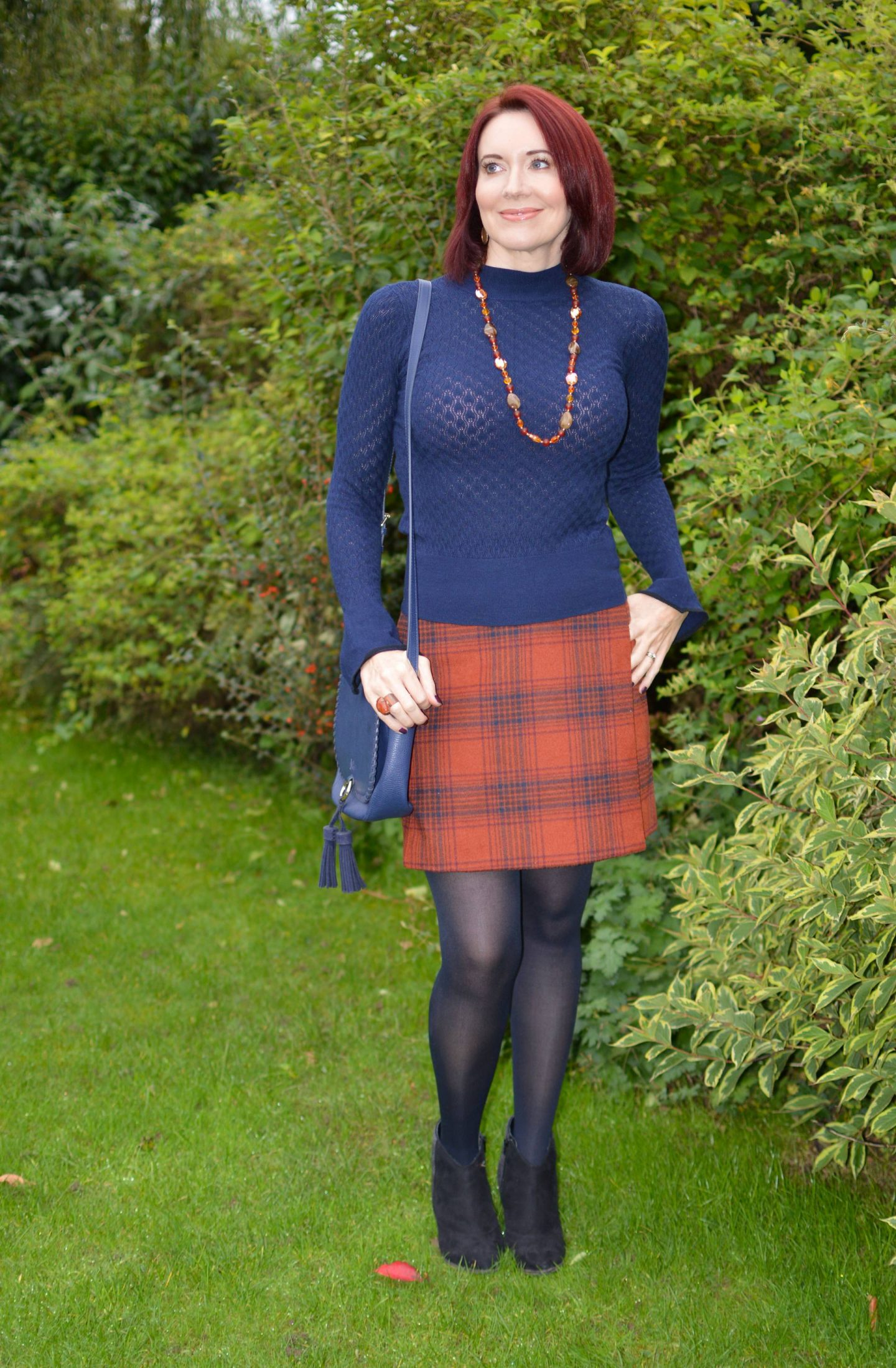 Marks and Spencer Rust Check Wrap Skirt and Navy Sweater