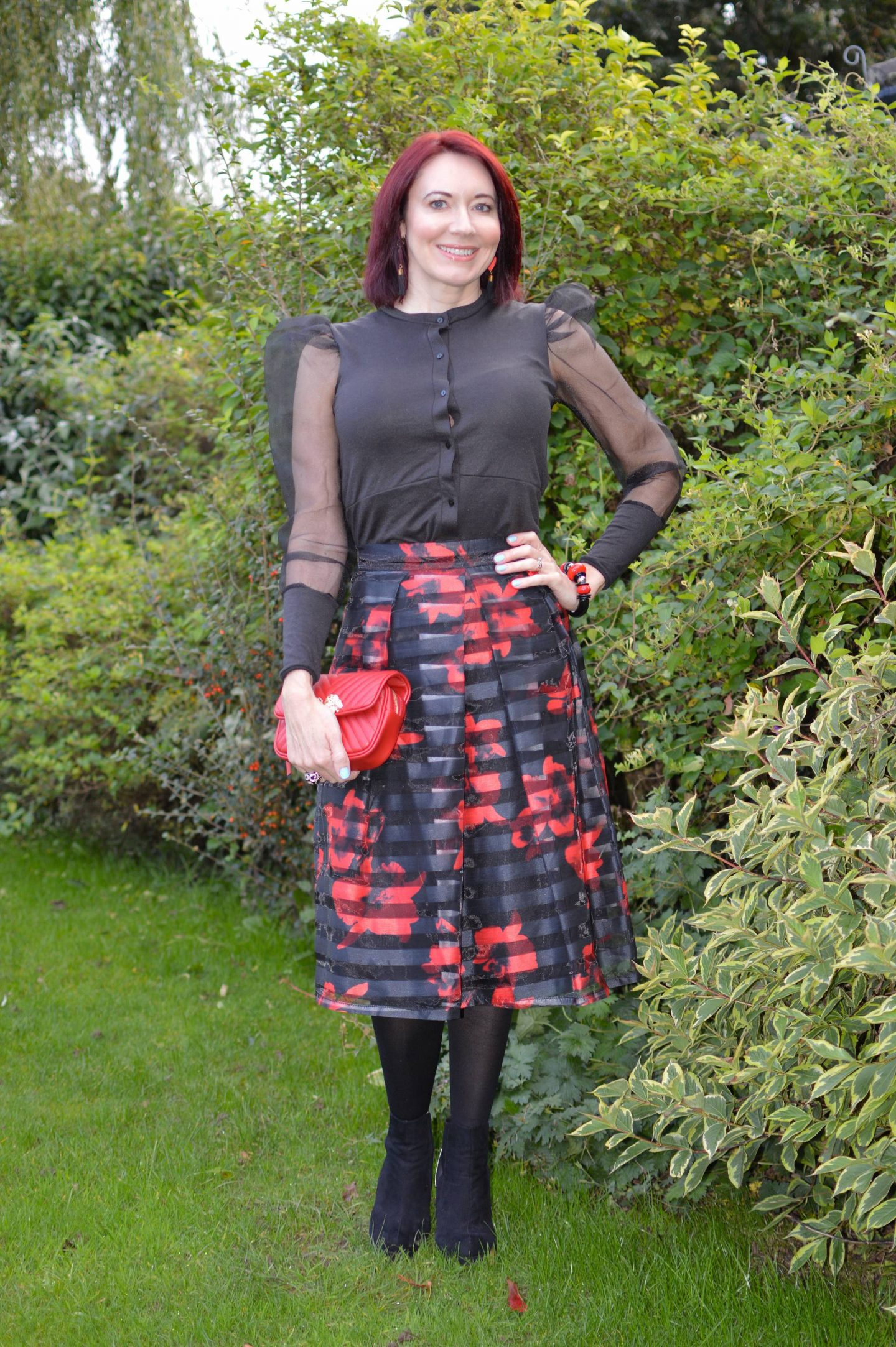 Sheer Puff Sleeve Top and Floral Print Skirt