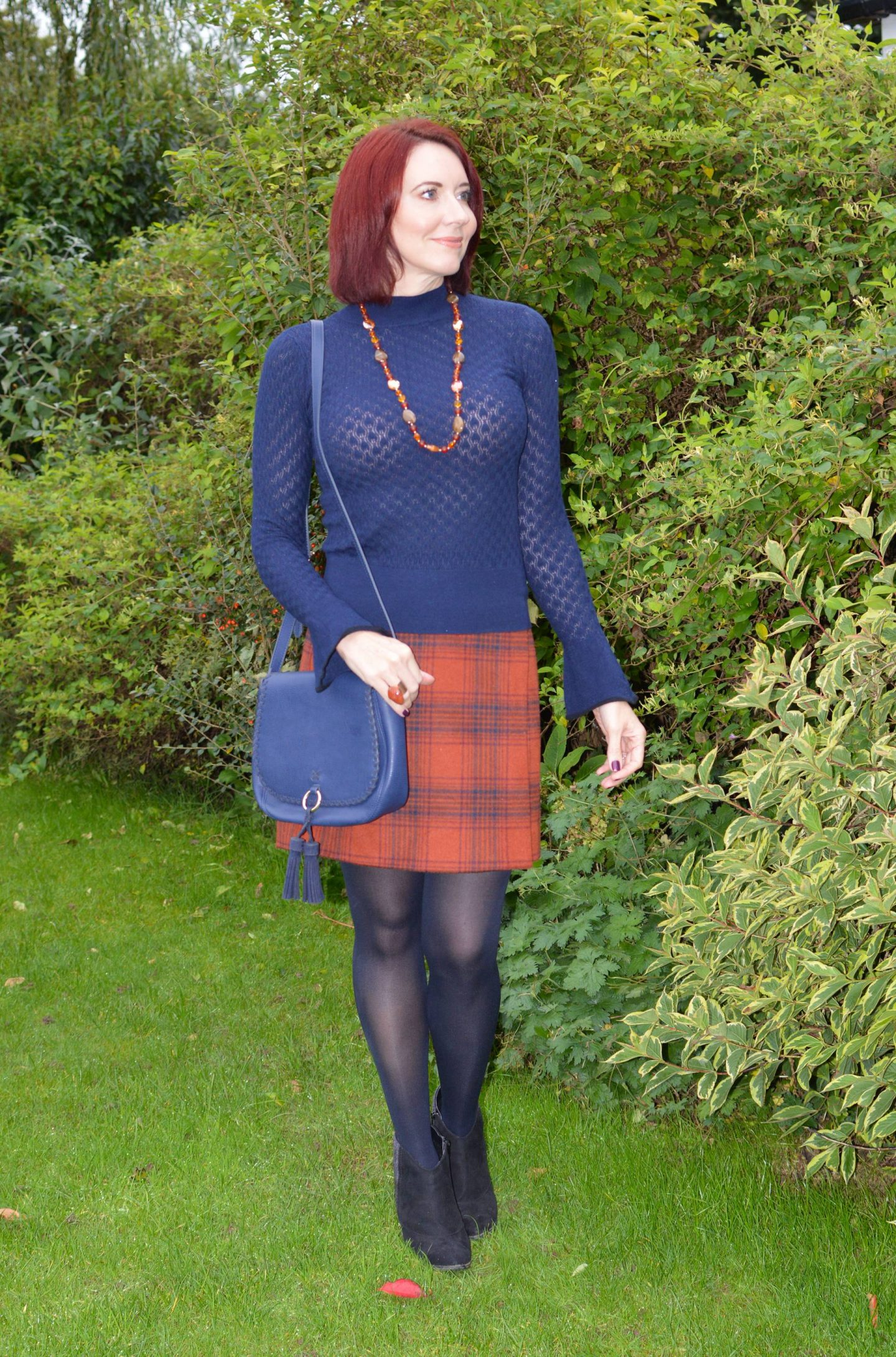 Marks and Spencer Rust Checked Wrap Skirt and Navy Sweater