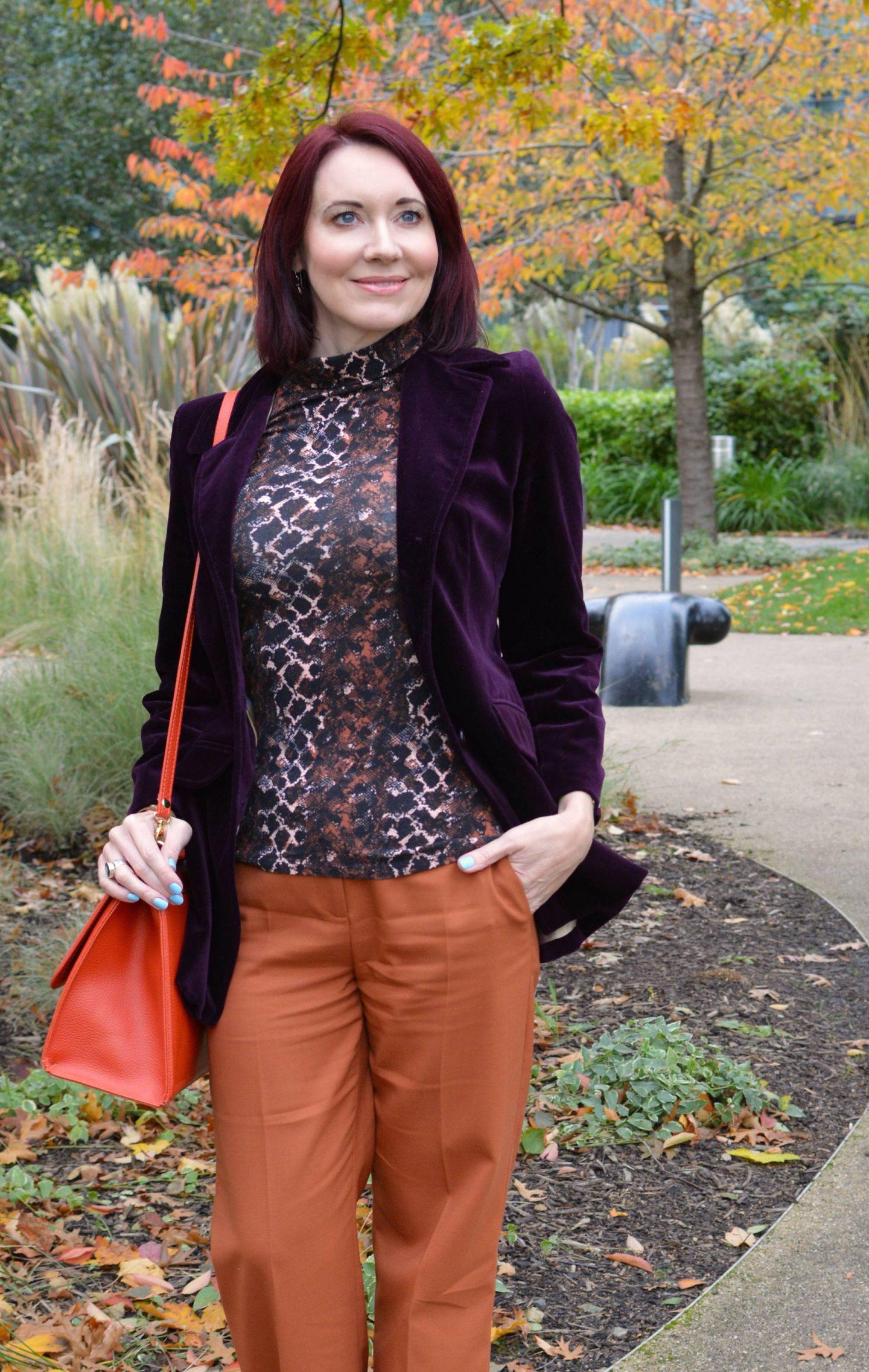 My Favourite Autumn Trend - October's Style Not Age, Next aubergine velvet blazer, Hobbs orange trousers