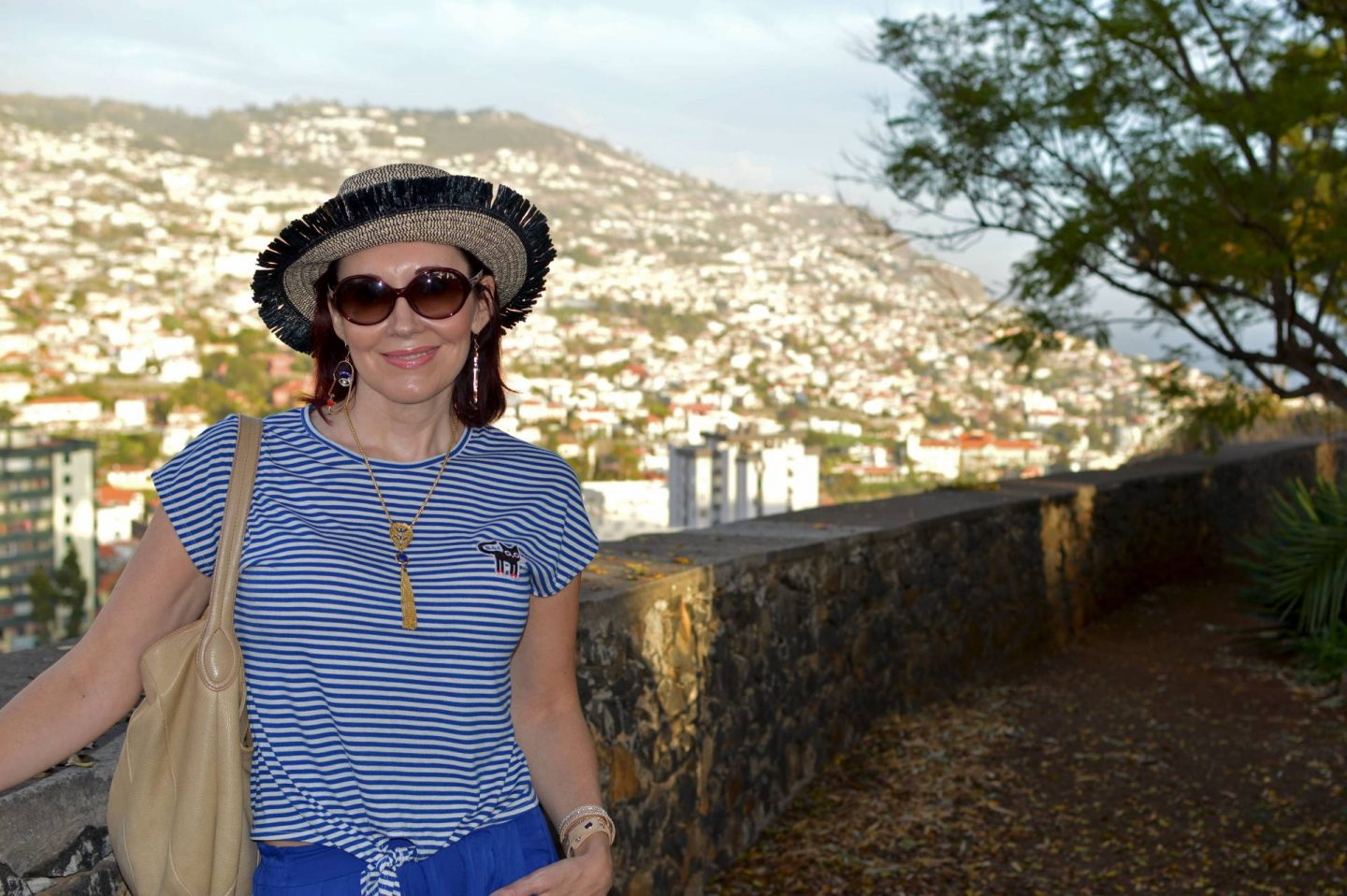 Mango striped top, view of Funchal