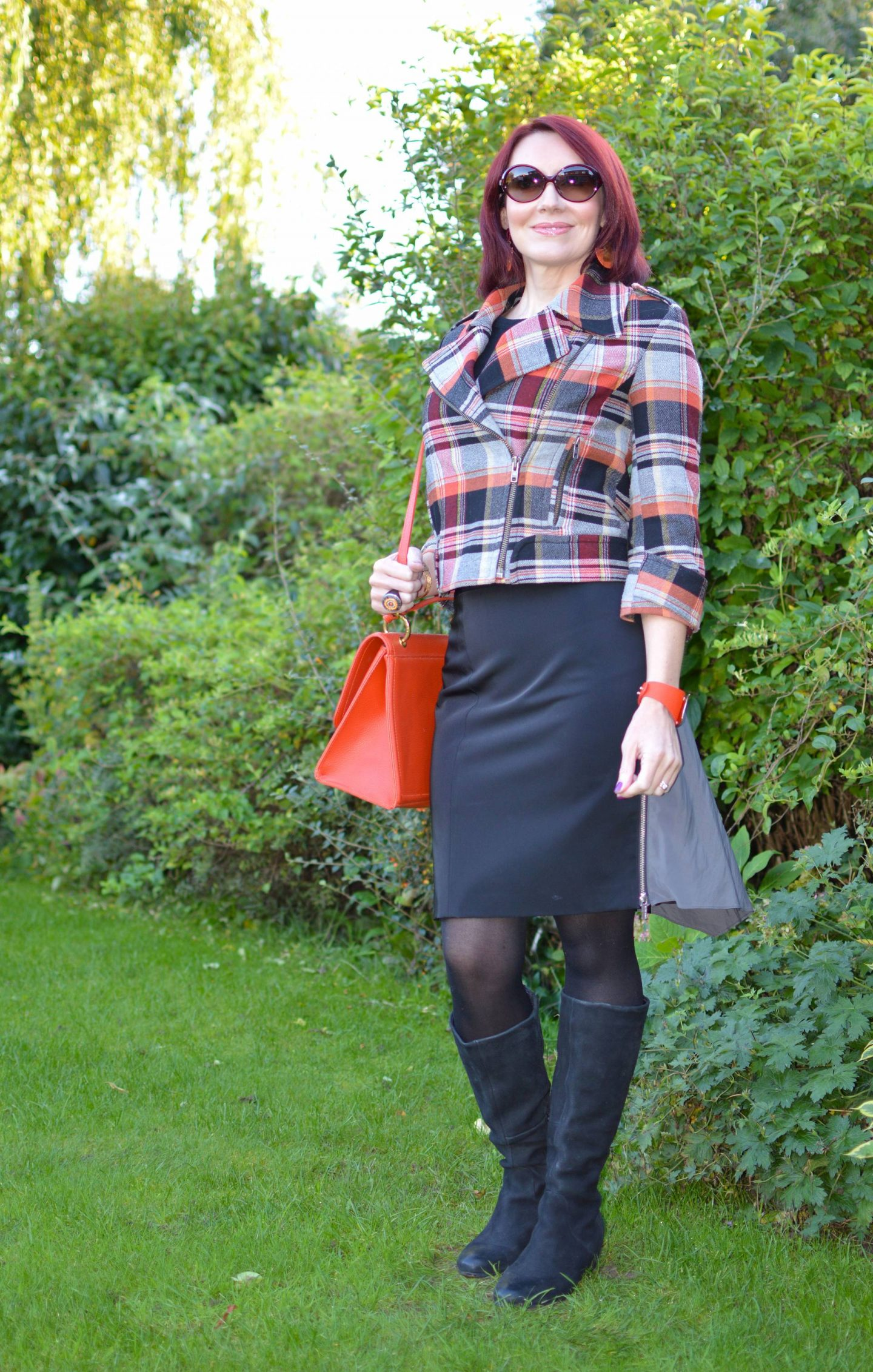 Mad For Plaid October Stylish Monday, French Connection plaid biker jacket