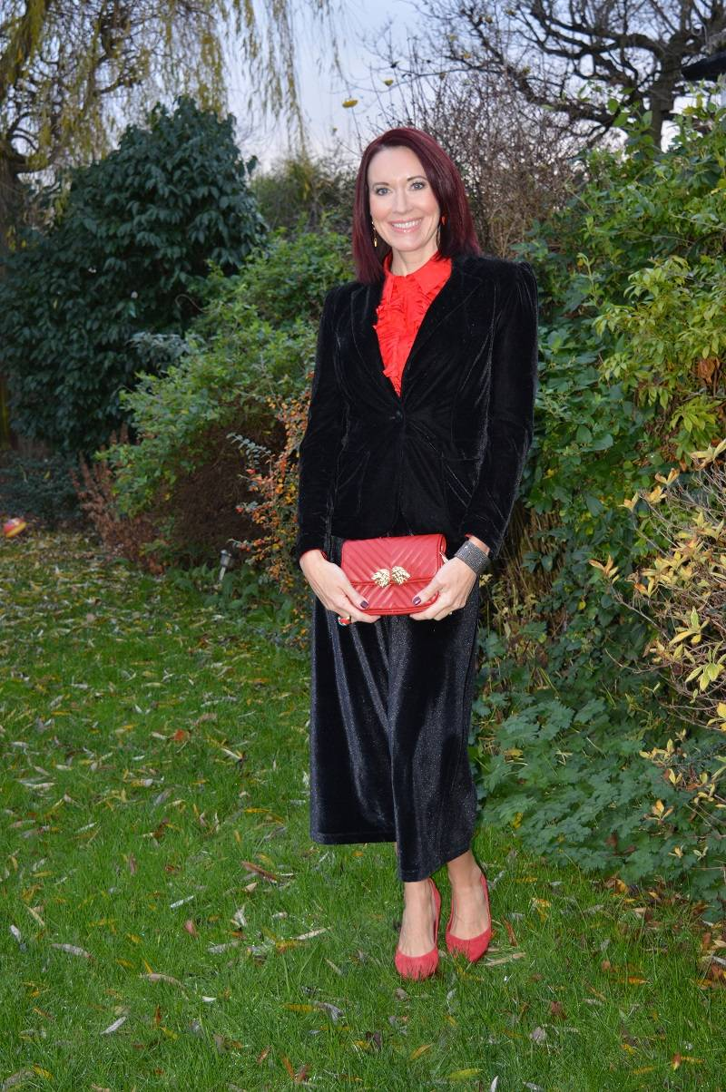 velvet jacket and culottes