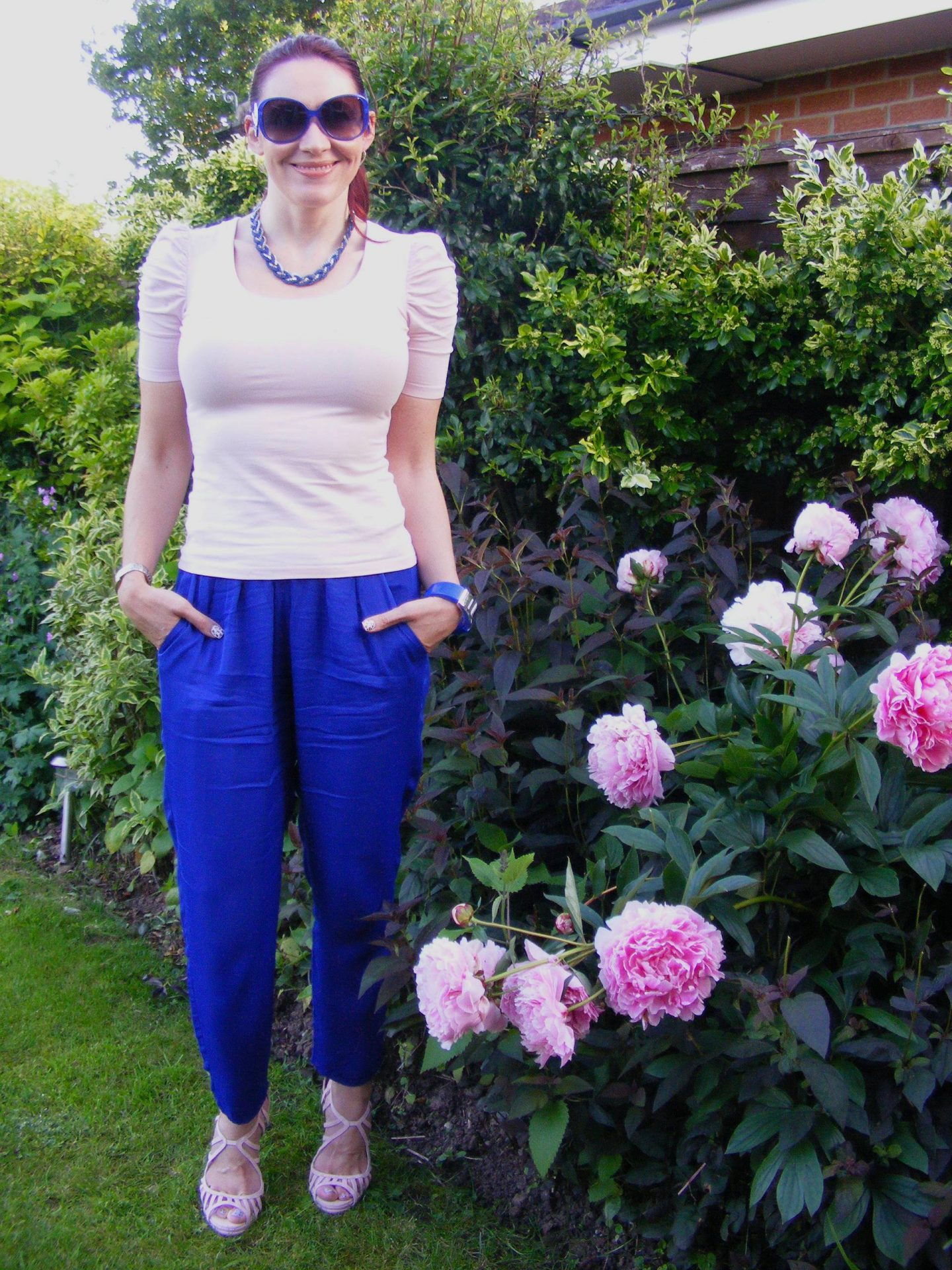 Mary Portas Blue Trousers and Blush Pink Top