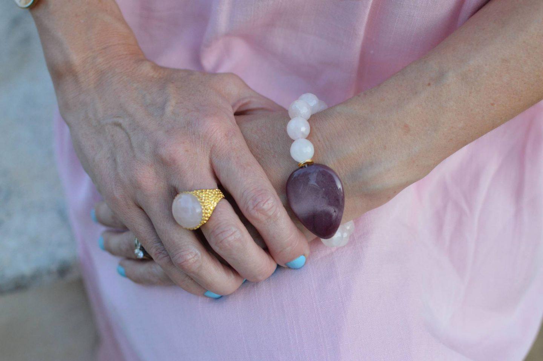Ottoman Hands rose quartz ring, hamdmade rose quartz bracelet