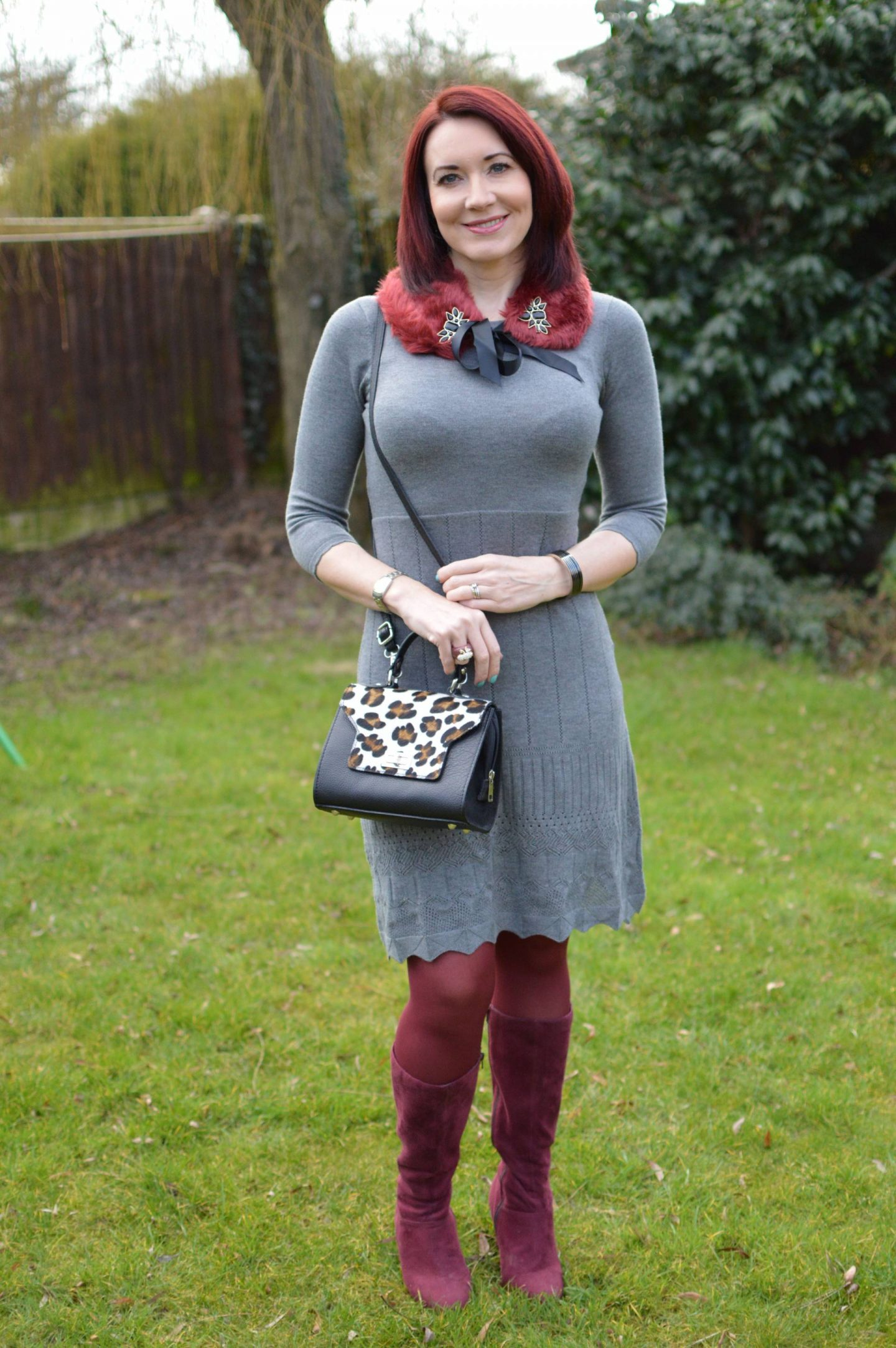 December Party Outfit Ideas, Laura Ashley grey jumper dress, faux fur collar