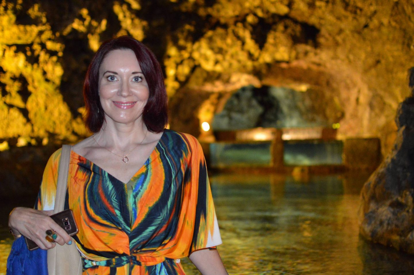 Tropical Print Batwing Dress, inside the São Vicente caves, Madeira