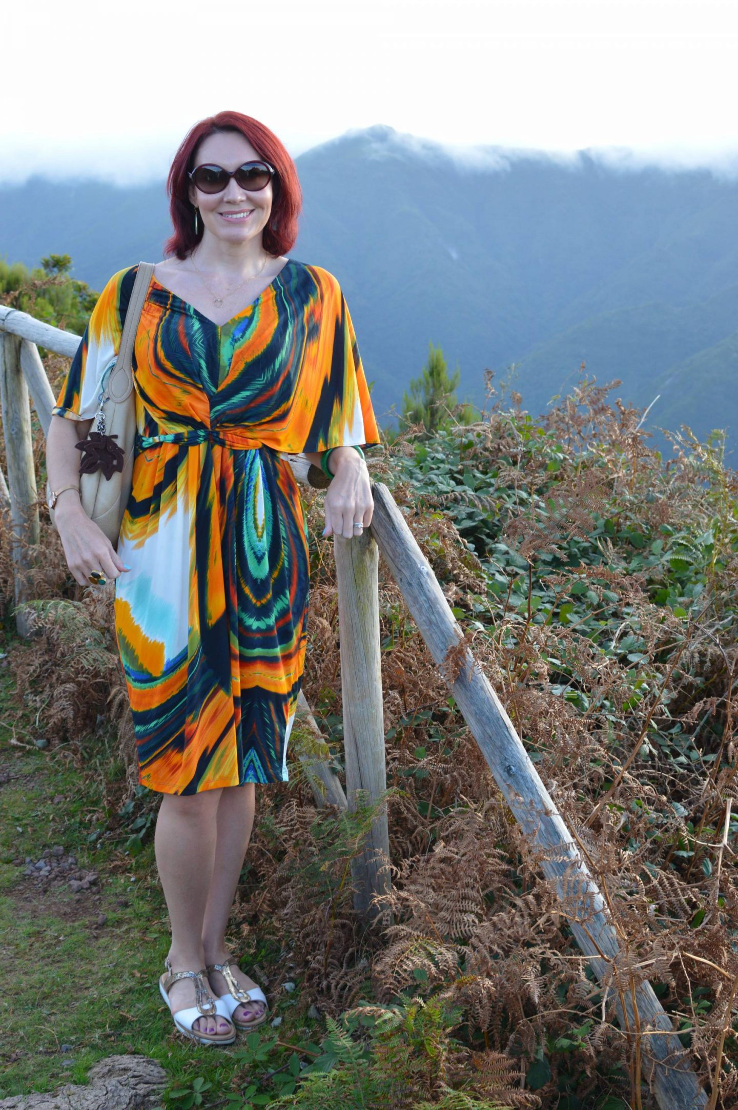 Tropical Print Batwing Dress, Madeira mountains in the clouds