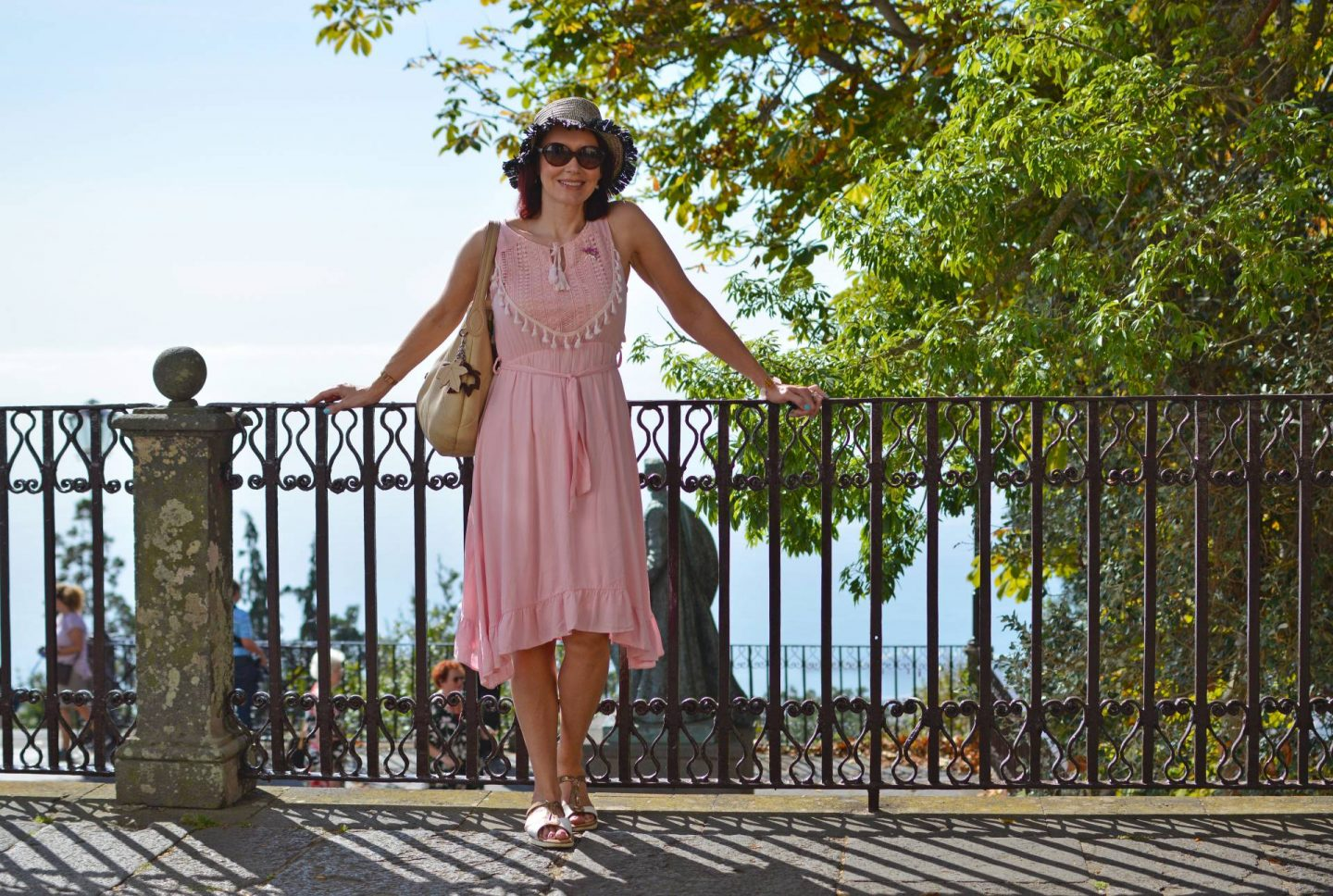 Cable Cars and Toboggans, pink Oeyes sundress. Sightseeing in Madeira