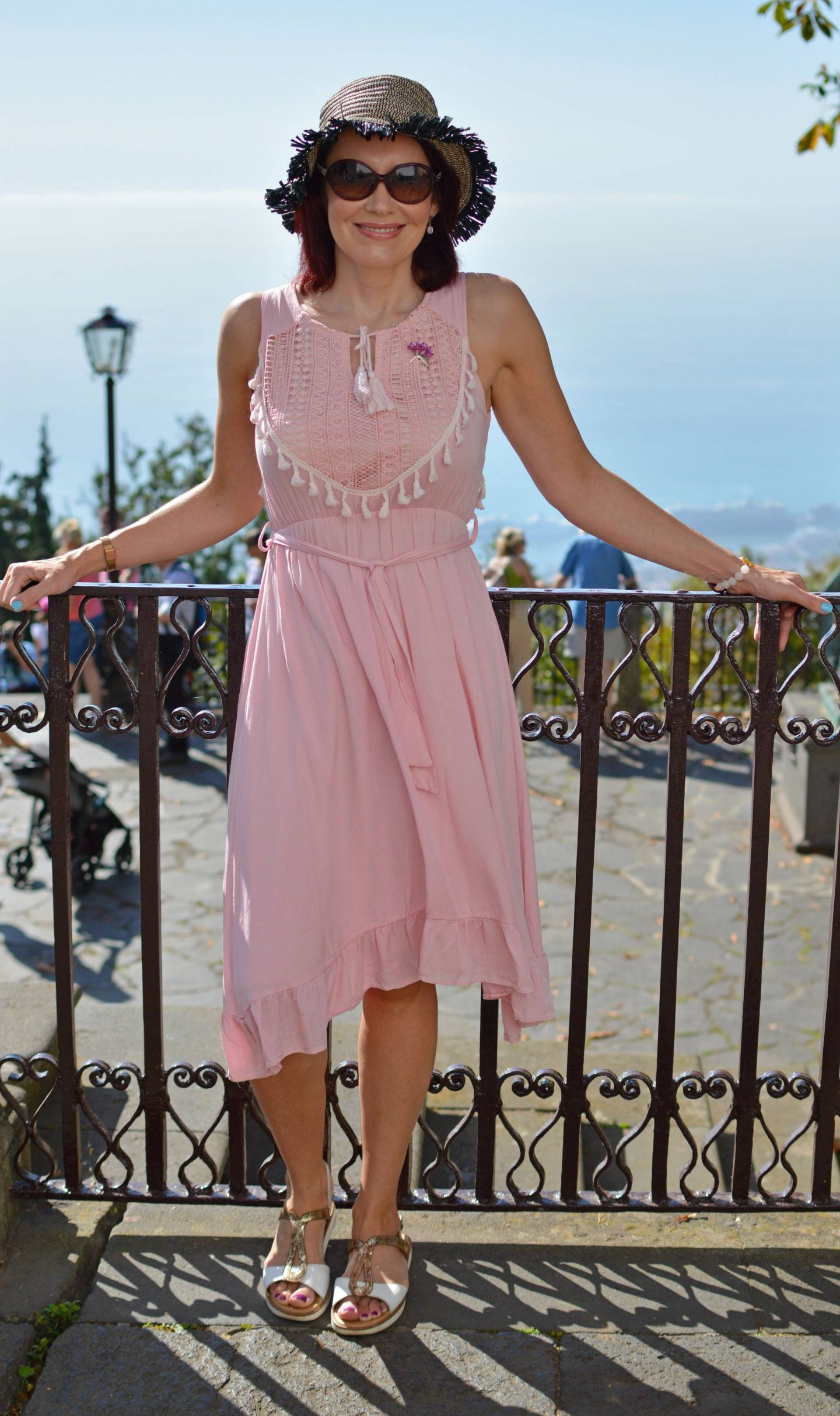 pink cotton Oeyes sundress, Cable Cars and Toboggans, sightseeing in Madeira