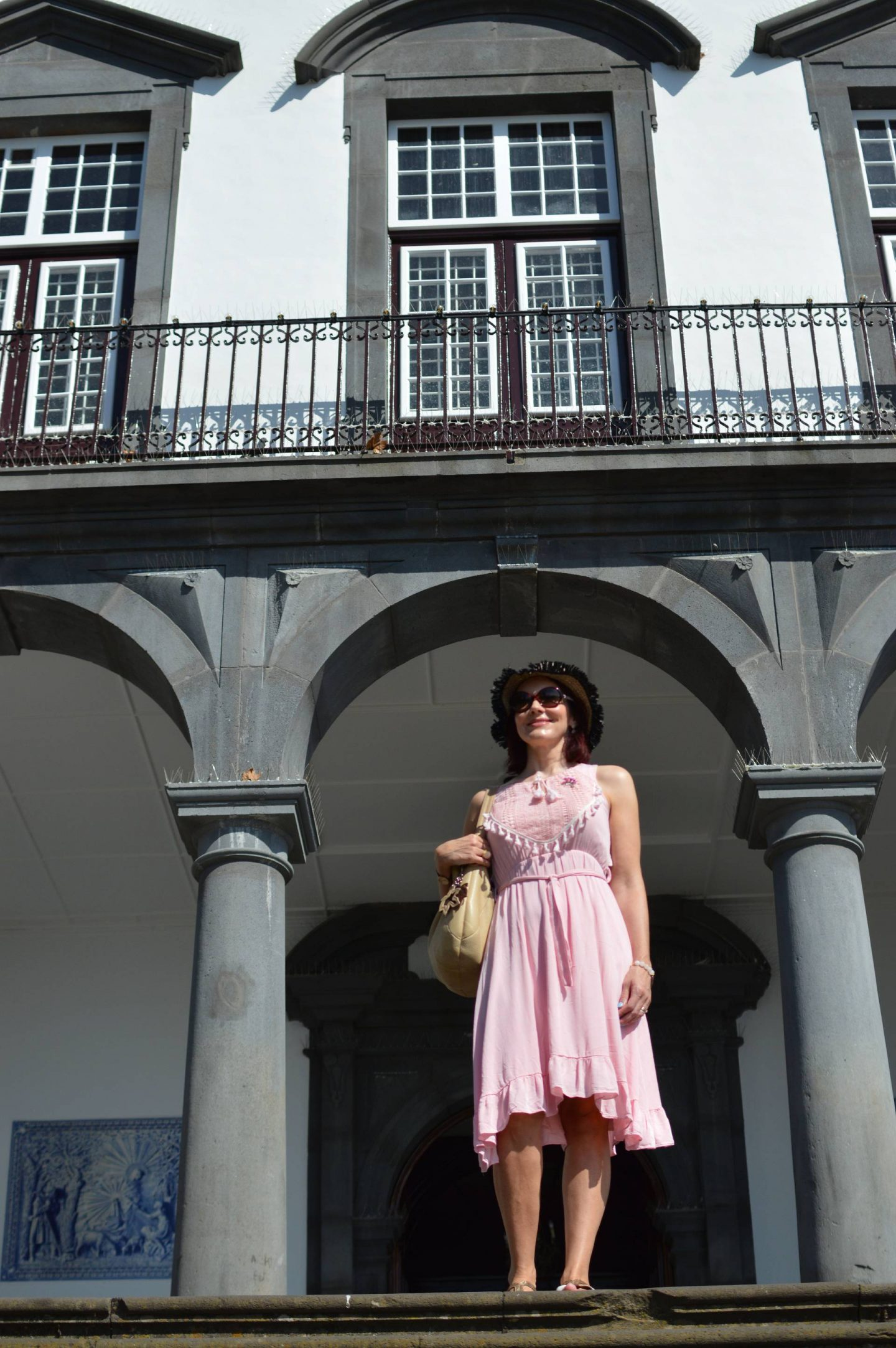 pink cotton Oeyes sundress, Cable Cars and Toboggans, sightseeing in Madeira, Church of Our Lady of Monte
