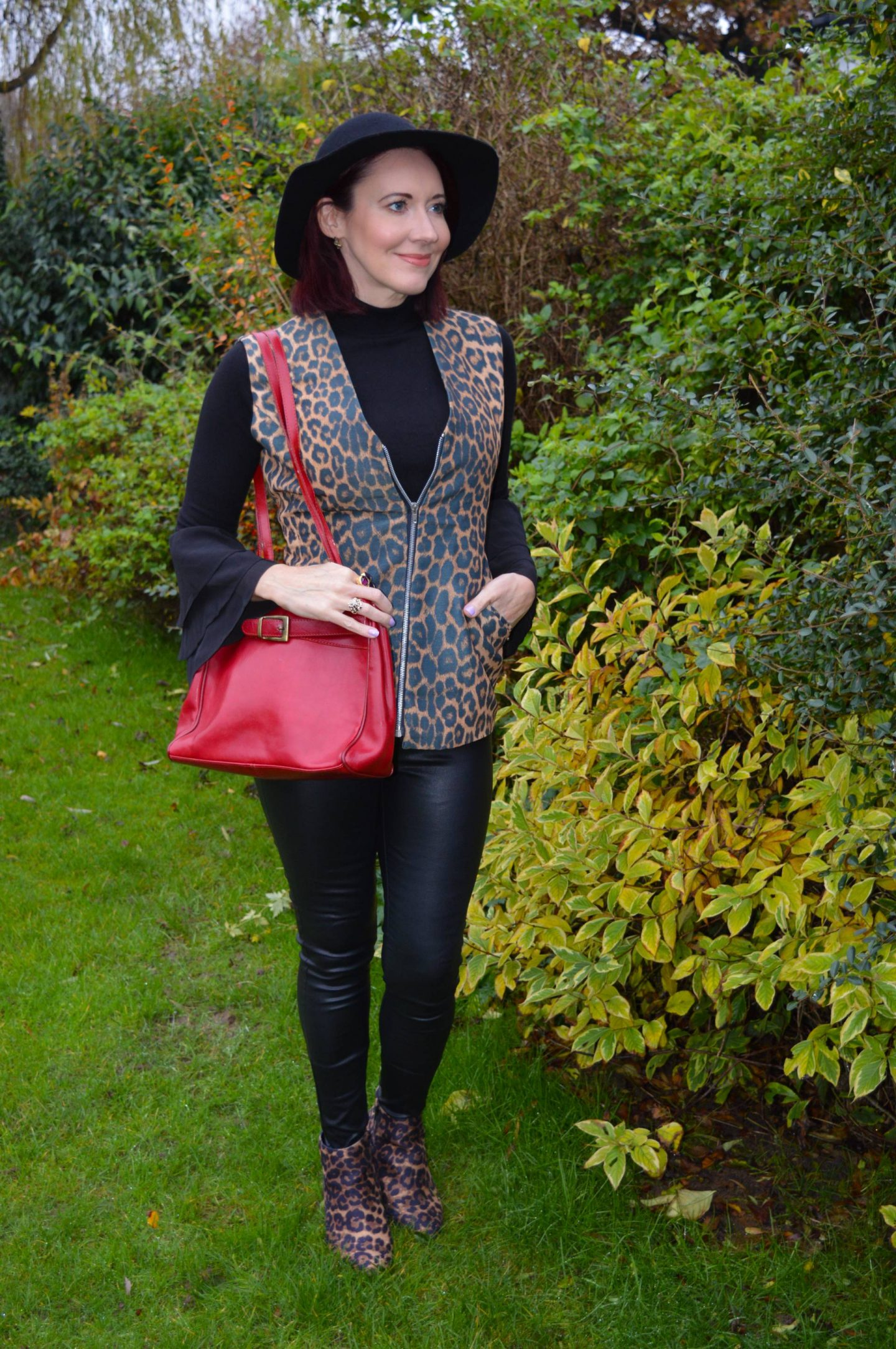 Style Not Age go back in fashion, Frontrow faux leather skinny jeans, leopard print waistcoat