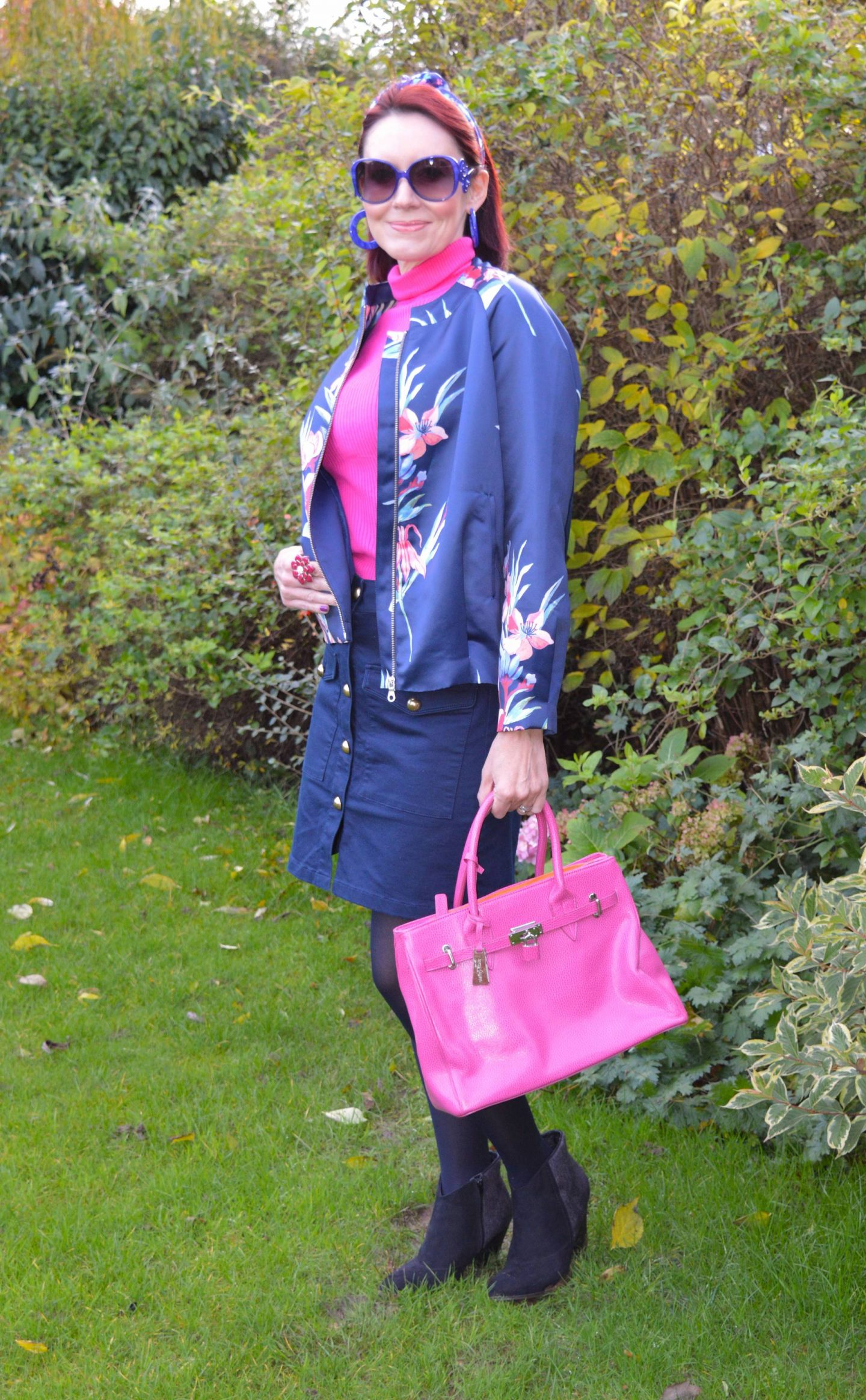 Floral Print Bomber Jacket With Hot Pink Accents, Lanretro head tie