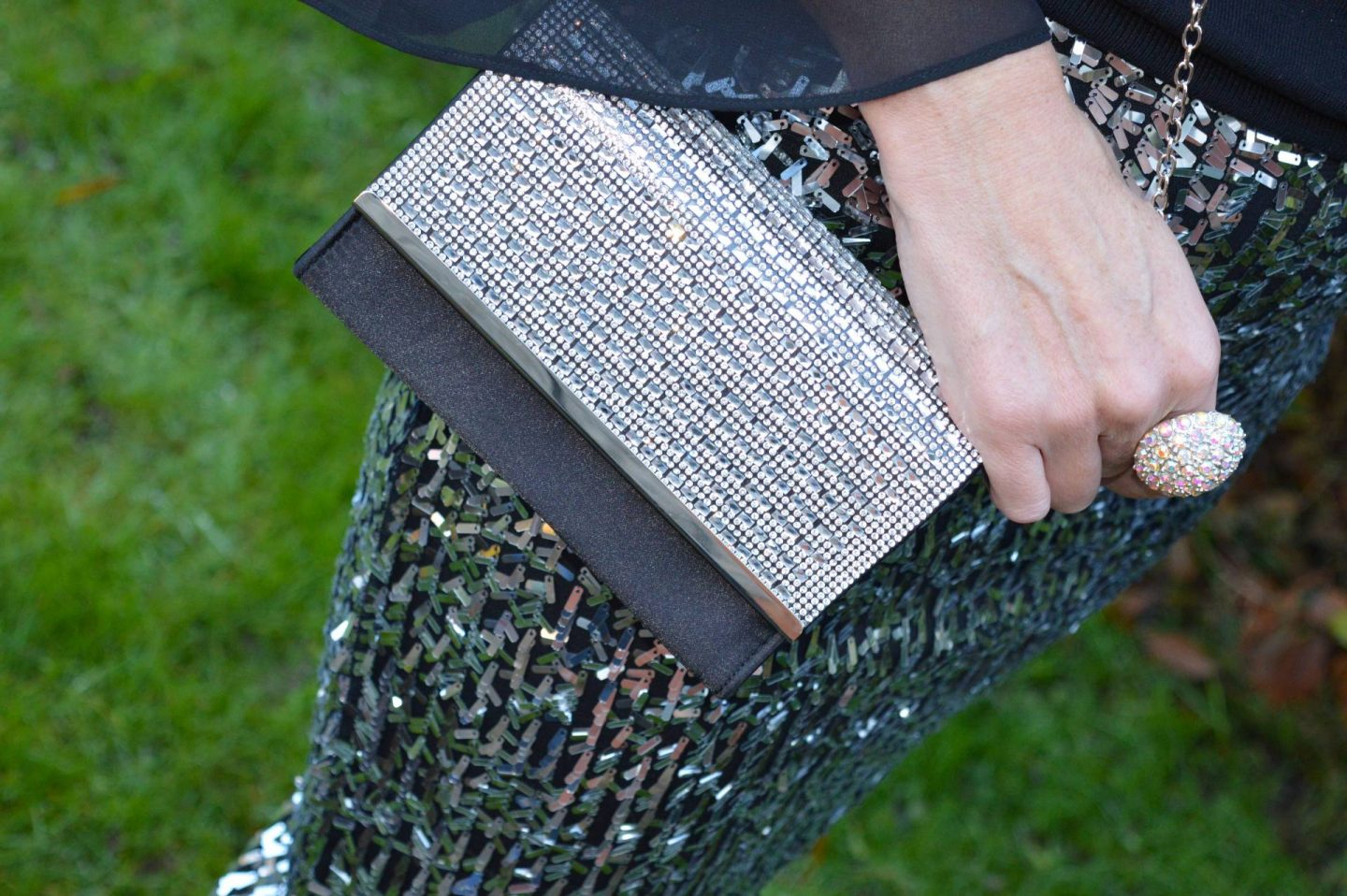 silver sequin skirt, Quiz black and silver chain handle bag