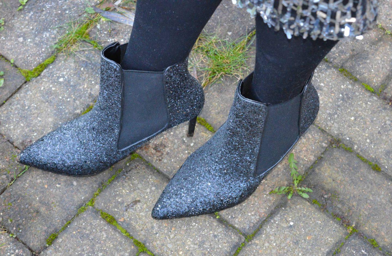 Zara black glitter boots