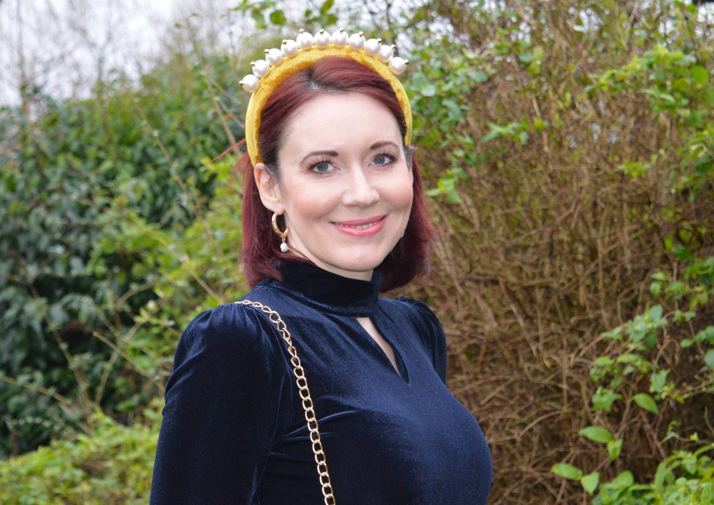 Oasis navy velvet dress, Asos mustard velvet pearl headband