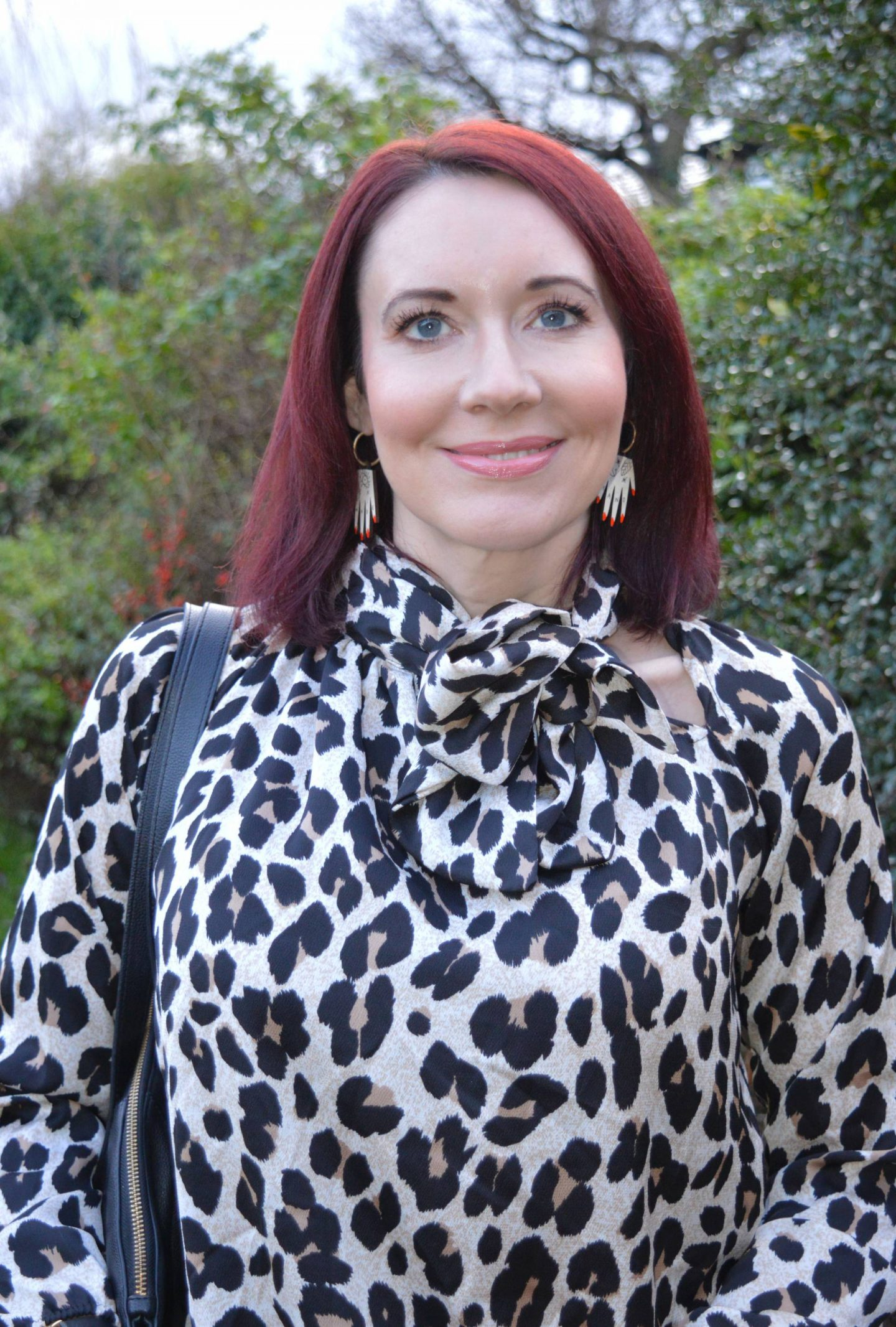 SilkFred leopard print blouse, Materia Rica handmade earrings