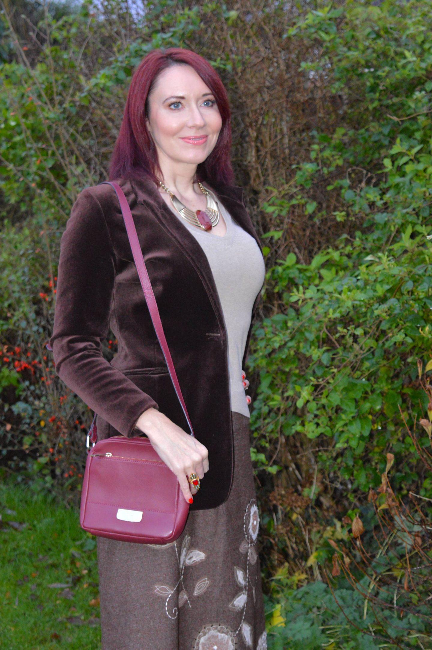 Paul Costelloe burgundy crossbody bag