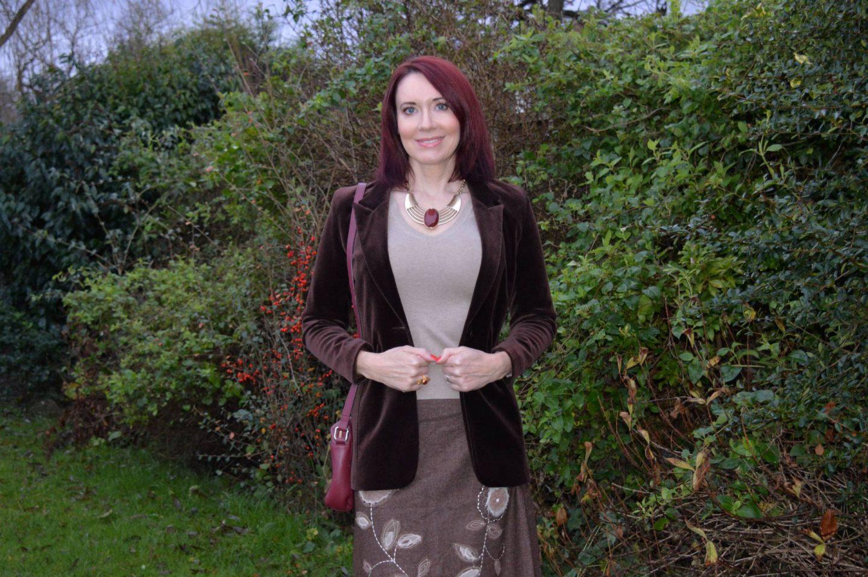 brown velvet jacket, Monsoon woollen embroidered skirt