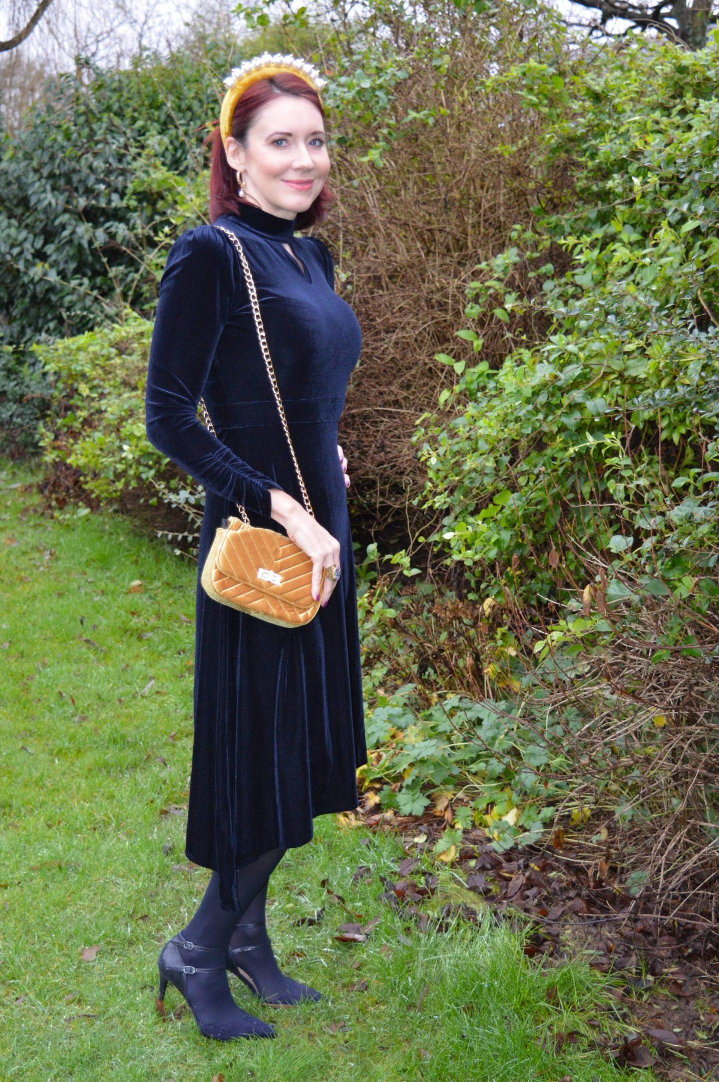 Winter Opulence: December's Style Not Age, Oasis navy velvet dress, Asos mustard velvet pearl headband