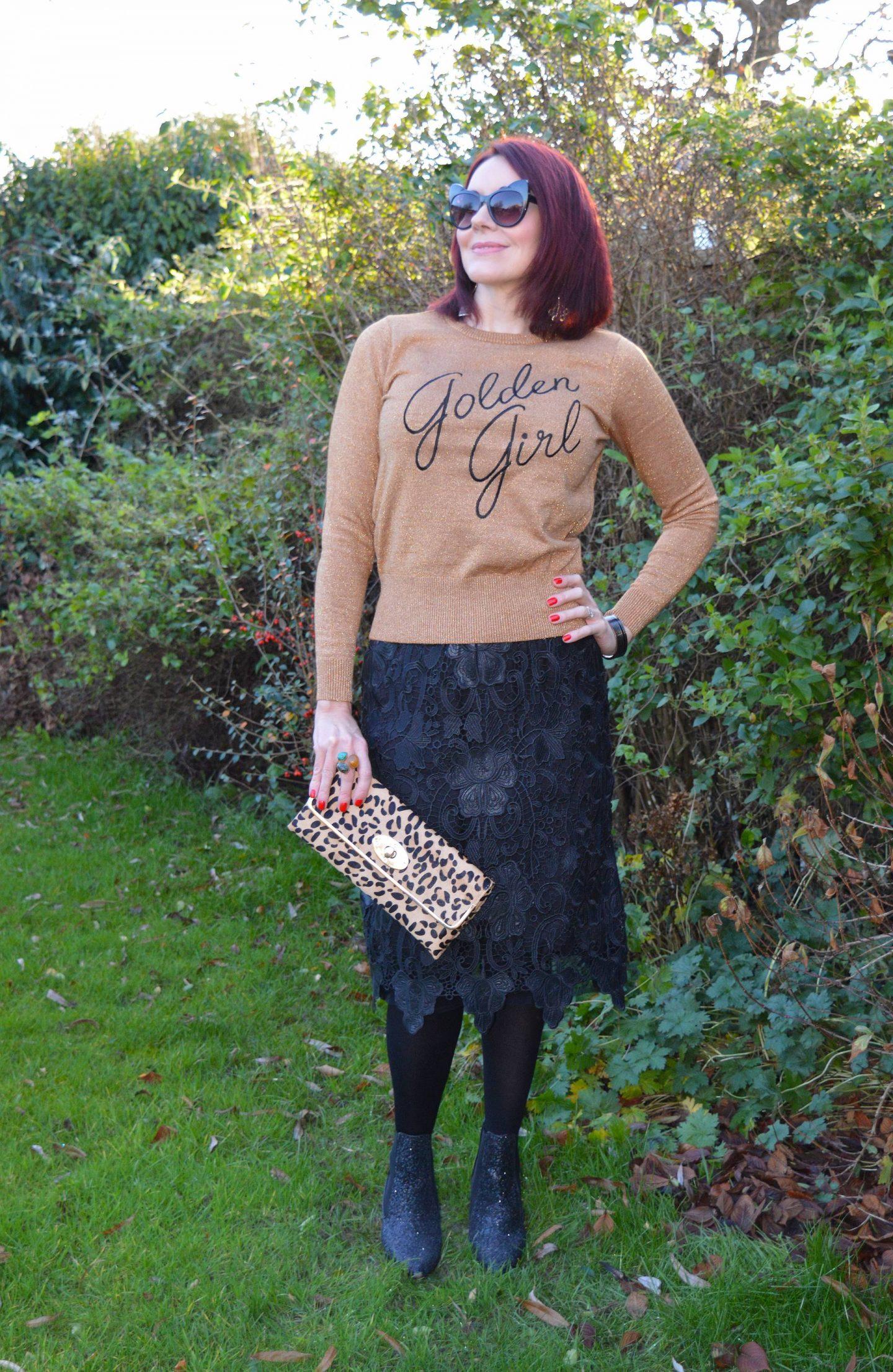 Golden Girl Lurex Jumper and Lace Skirt