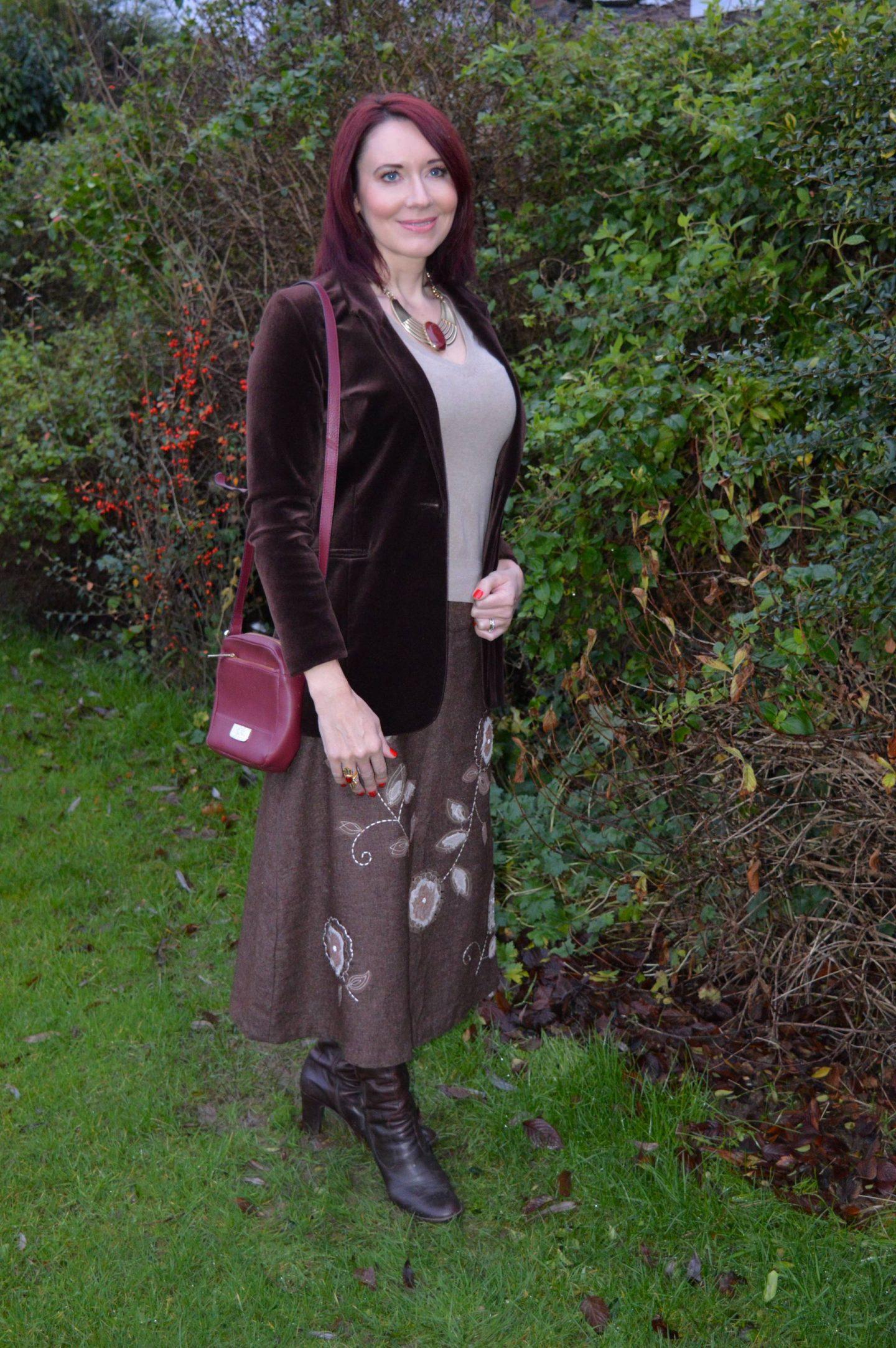 velvet jacket, Monsoon embroidered skirt