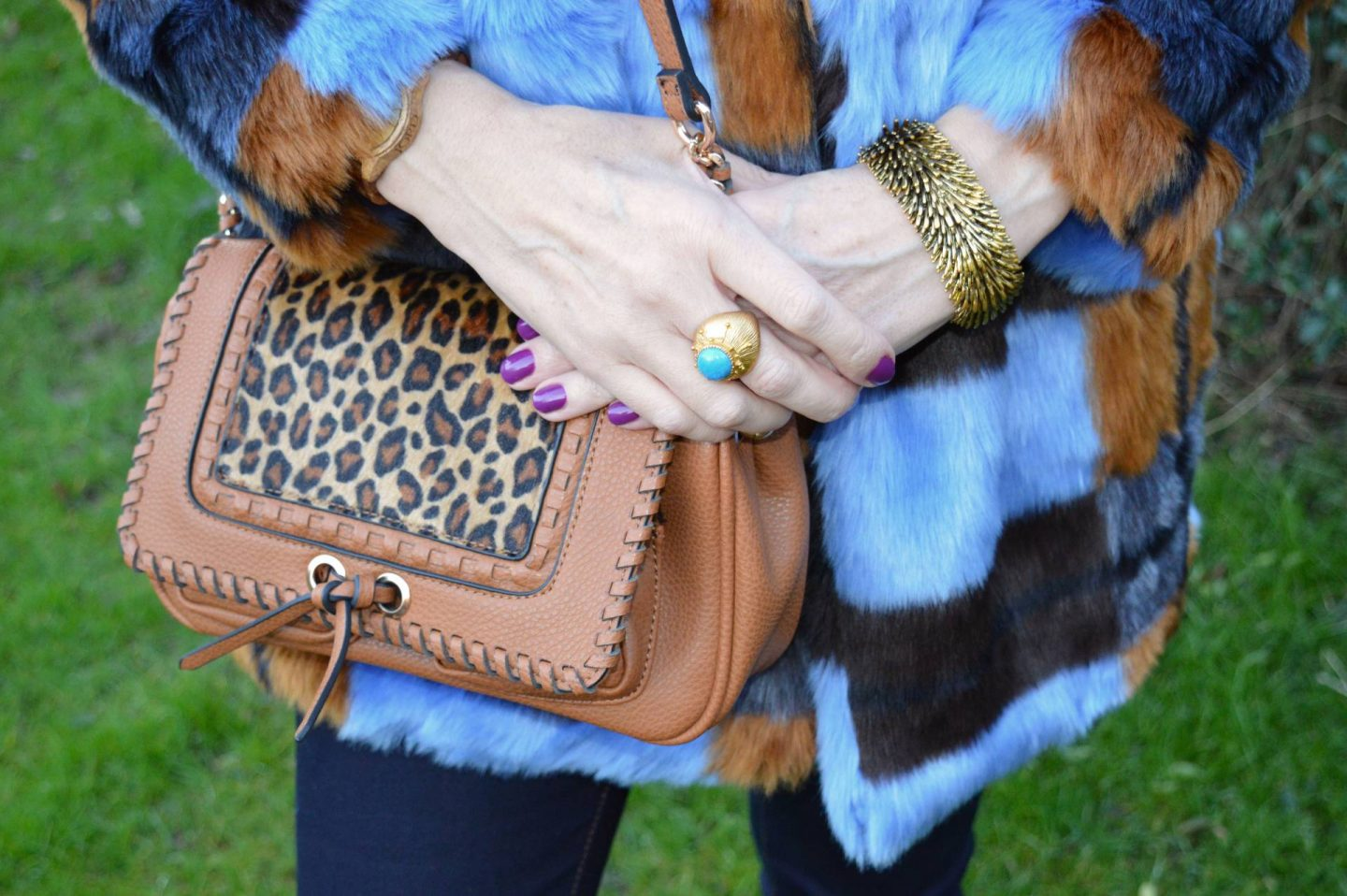 Scottage leopard print bag, Ottoman Hands gold and turquoise ring