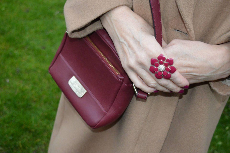 enamel flower ring, Paul Costelloe burgundy crossbody bag