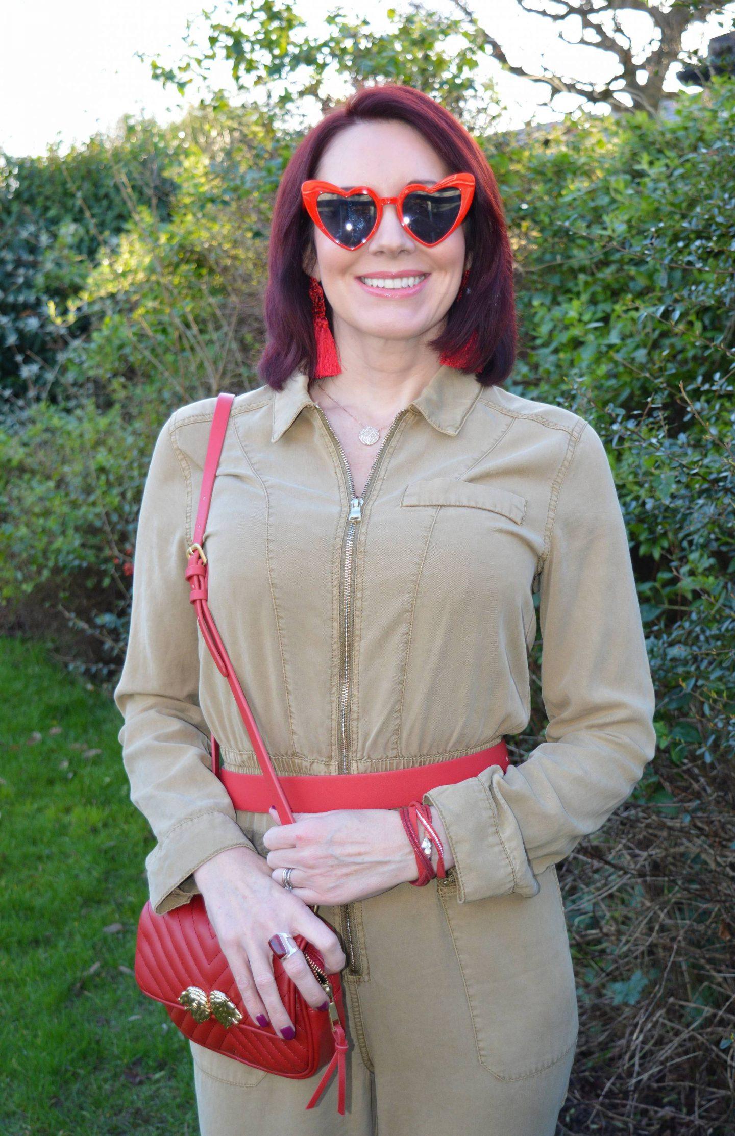 Heart sunglasses, River Island beige utility jumpsuit