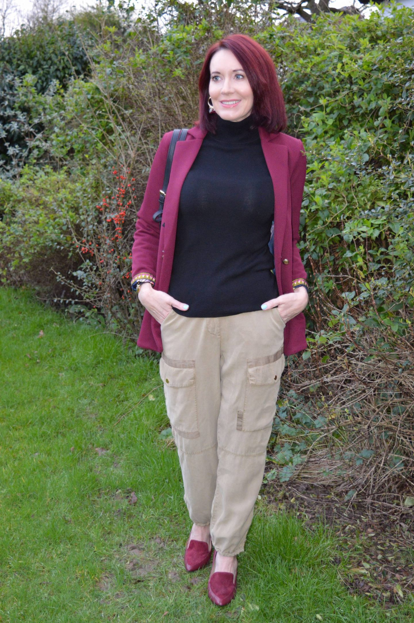 burgundy jacket, River Island utility trousers, faux fur backpack