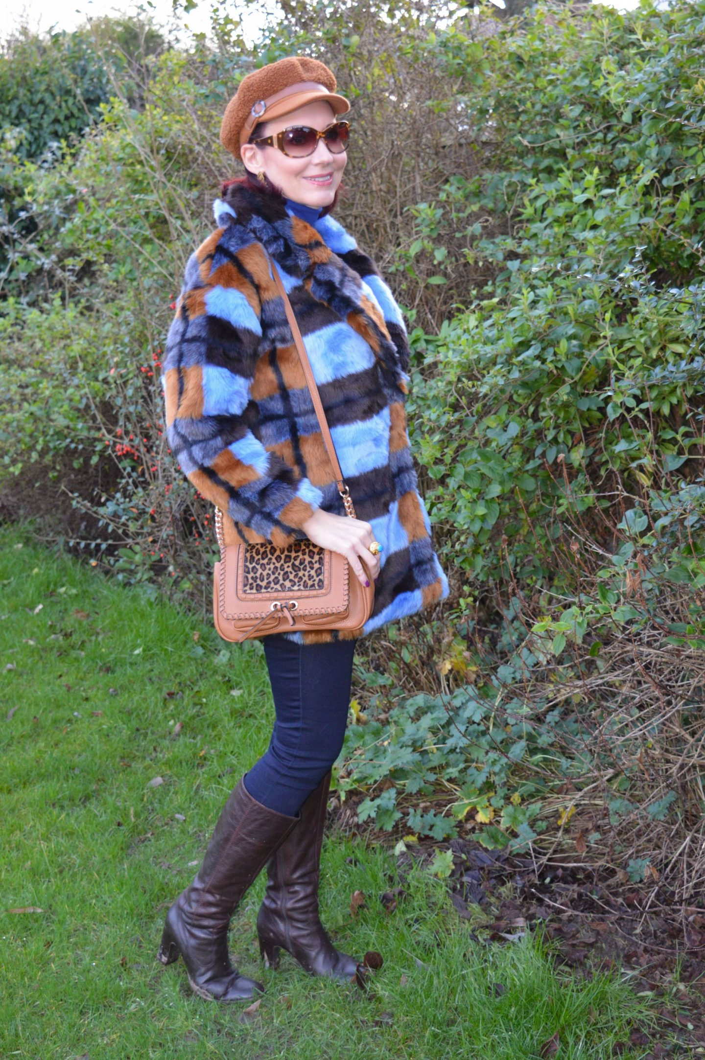 Asos faux fur coat, Scottage leopard print bag, Marks & Spencer brown baker boy hat