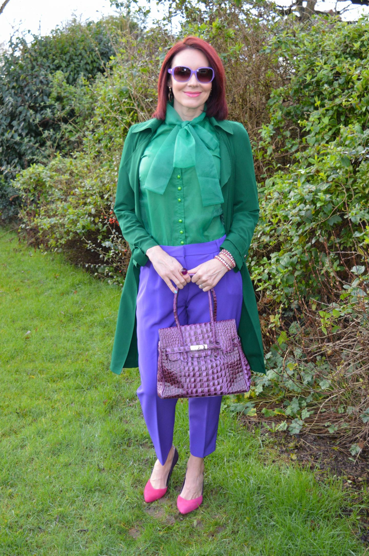 emerald green Papaya trenchcoat, green organza bow blouse, Asos purple trousers