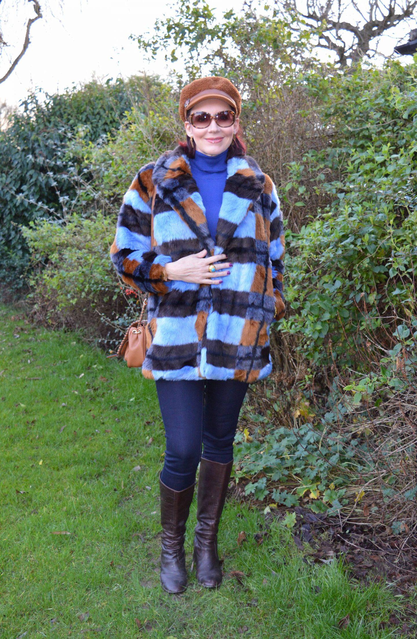 New Year Cozy Chic, Asos faux fur coat, Scottage leopard print bag, Marks & Spencer brown baker boy hat