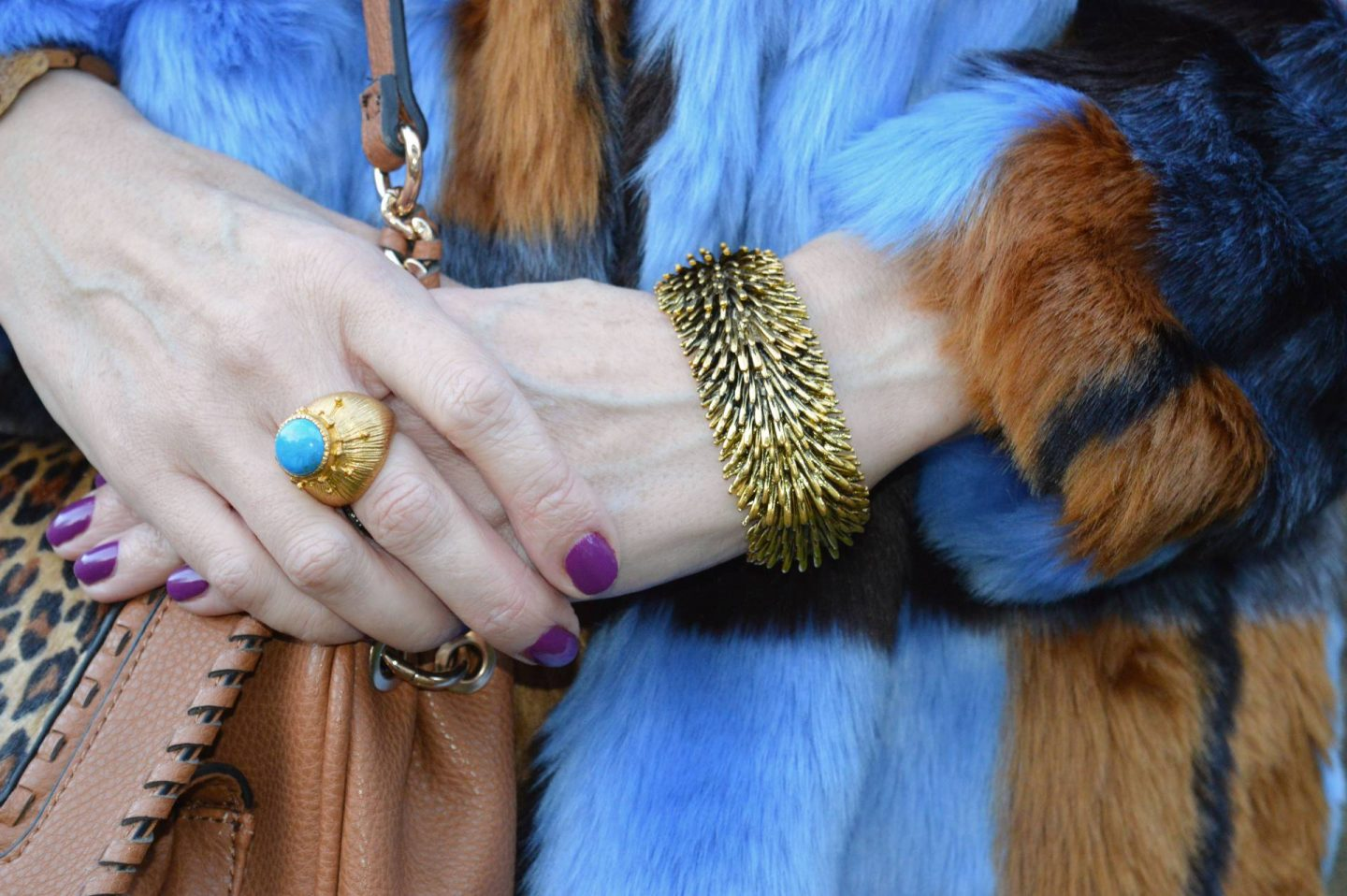 Ottoman Hands gold and turquois ring