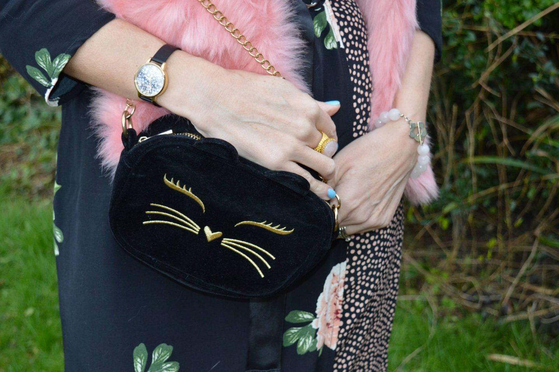 Nine Savannah Miller rose print dress, Skinny Dip pink faux fur scarf, Asos velvet cat bag