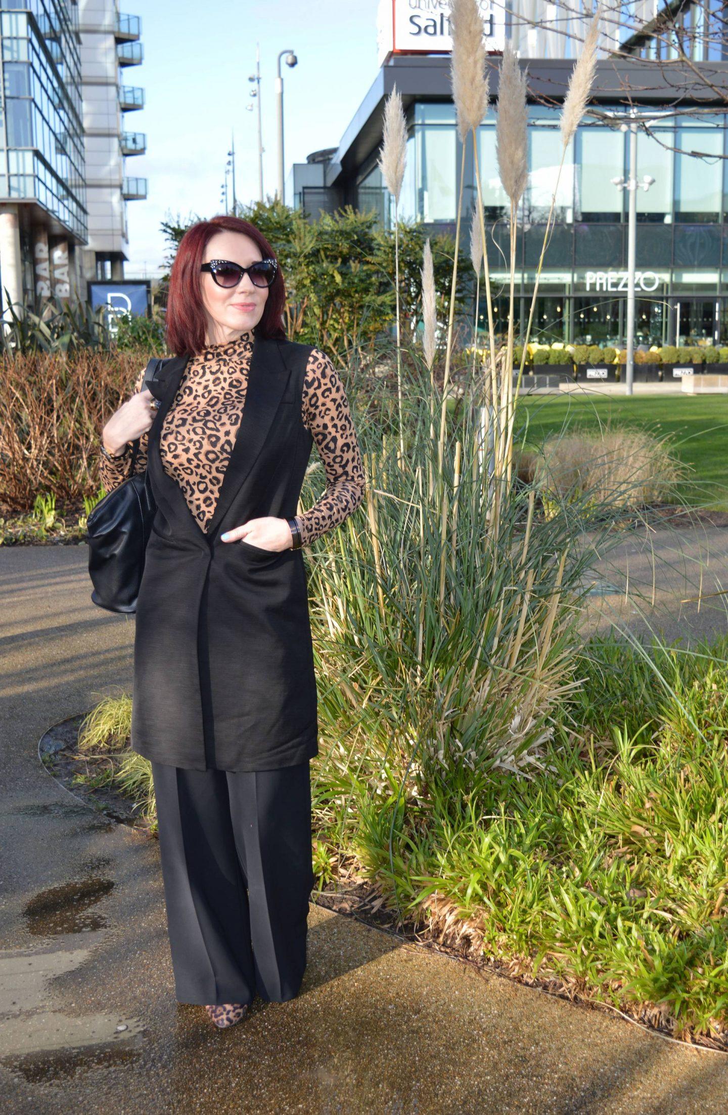 Classic Black and Leopard Print, Marks & Spencer black sleeveless jacket