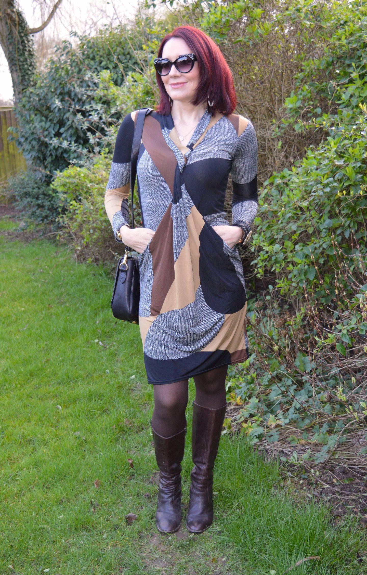 Twist Front Print Dress