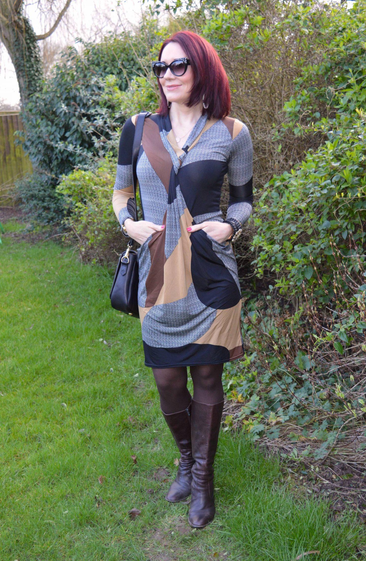Twist Front Print Dress, Jennifer Hamley Mini KT bag