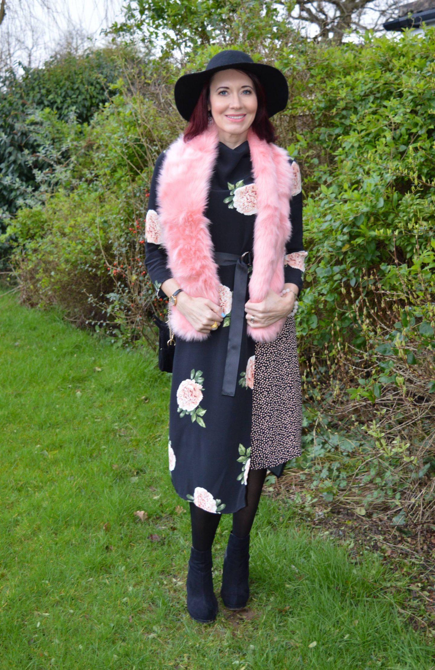 February Style Not Age: Flower Power, Nine Savannah Miller rose print dress, Skinny Dip pink faux fur scarf