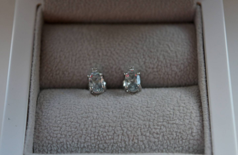 Browns aquamarine and diamond stud earrings