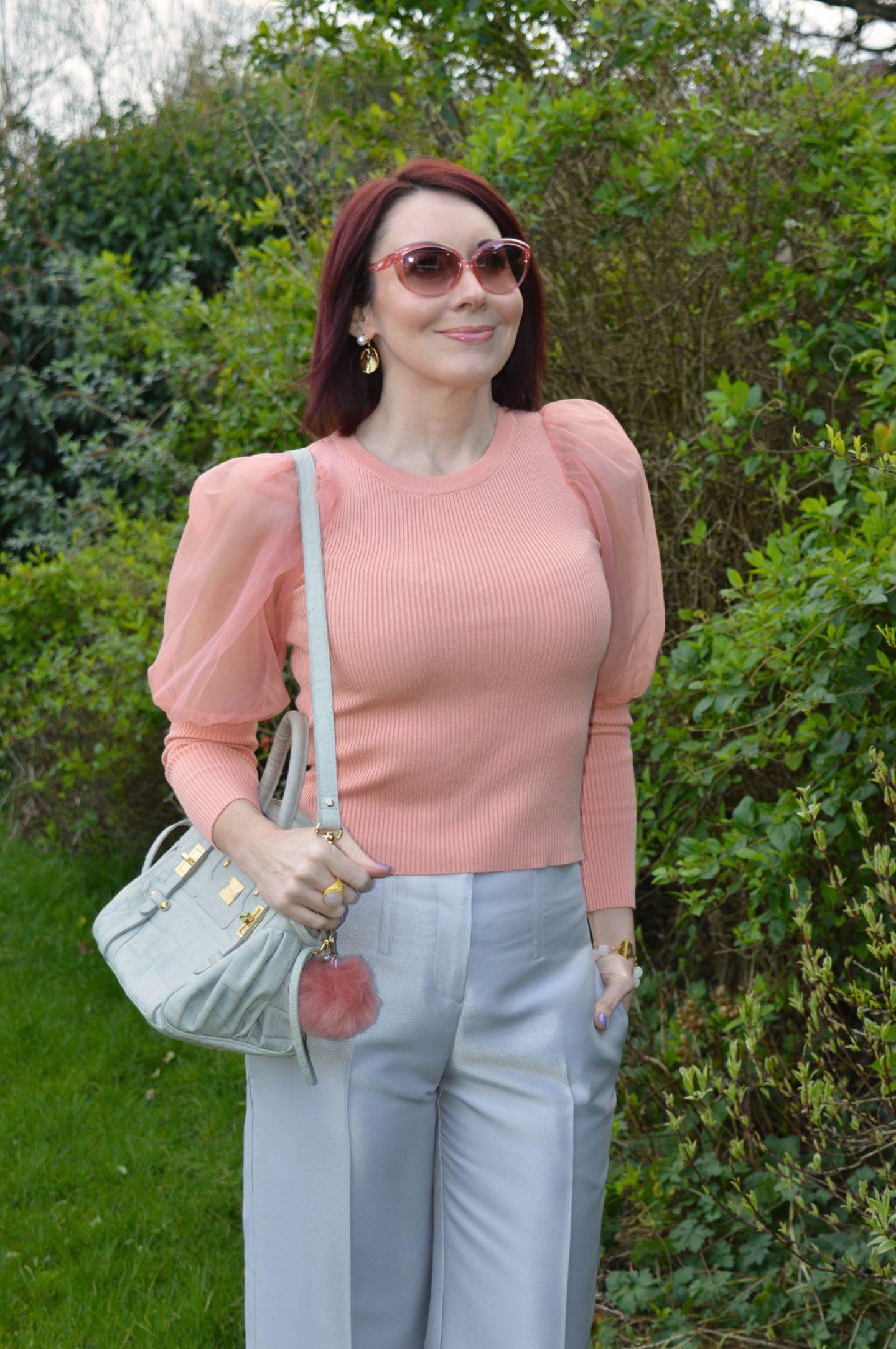 Pink sheer sleeve top, Modalu grey bag