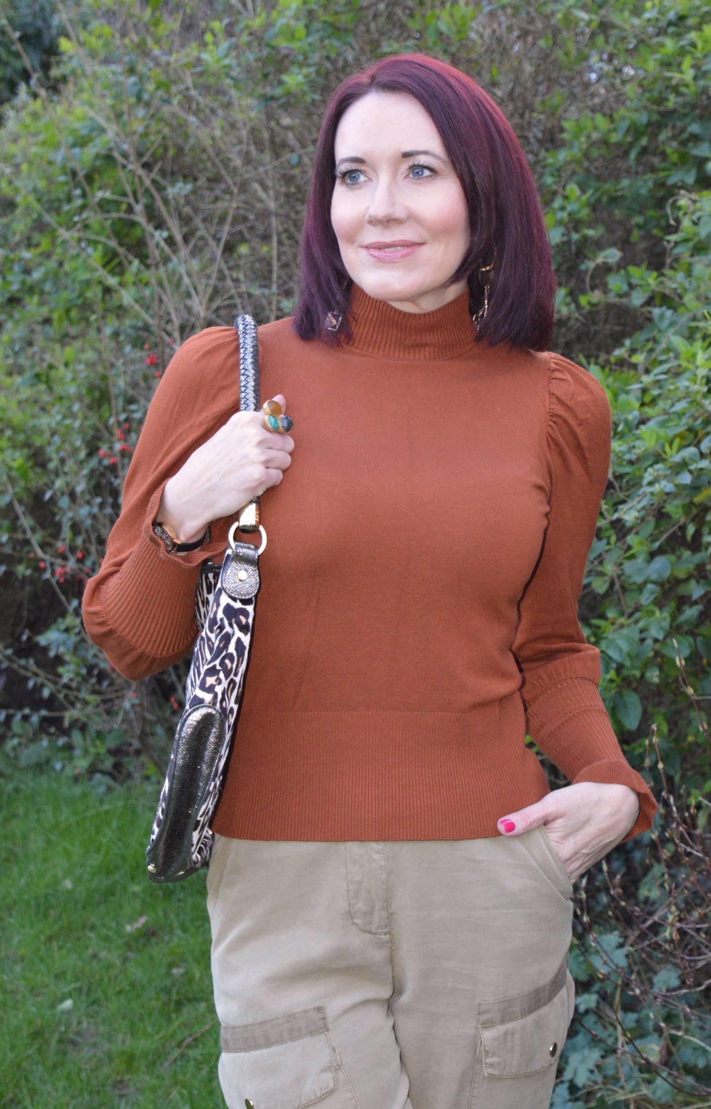 River Island rust Frill sleeve jumper, Biba leopard print bag