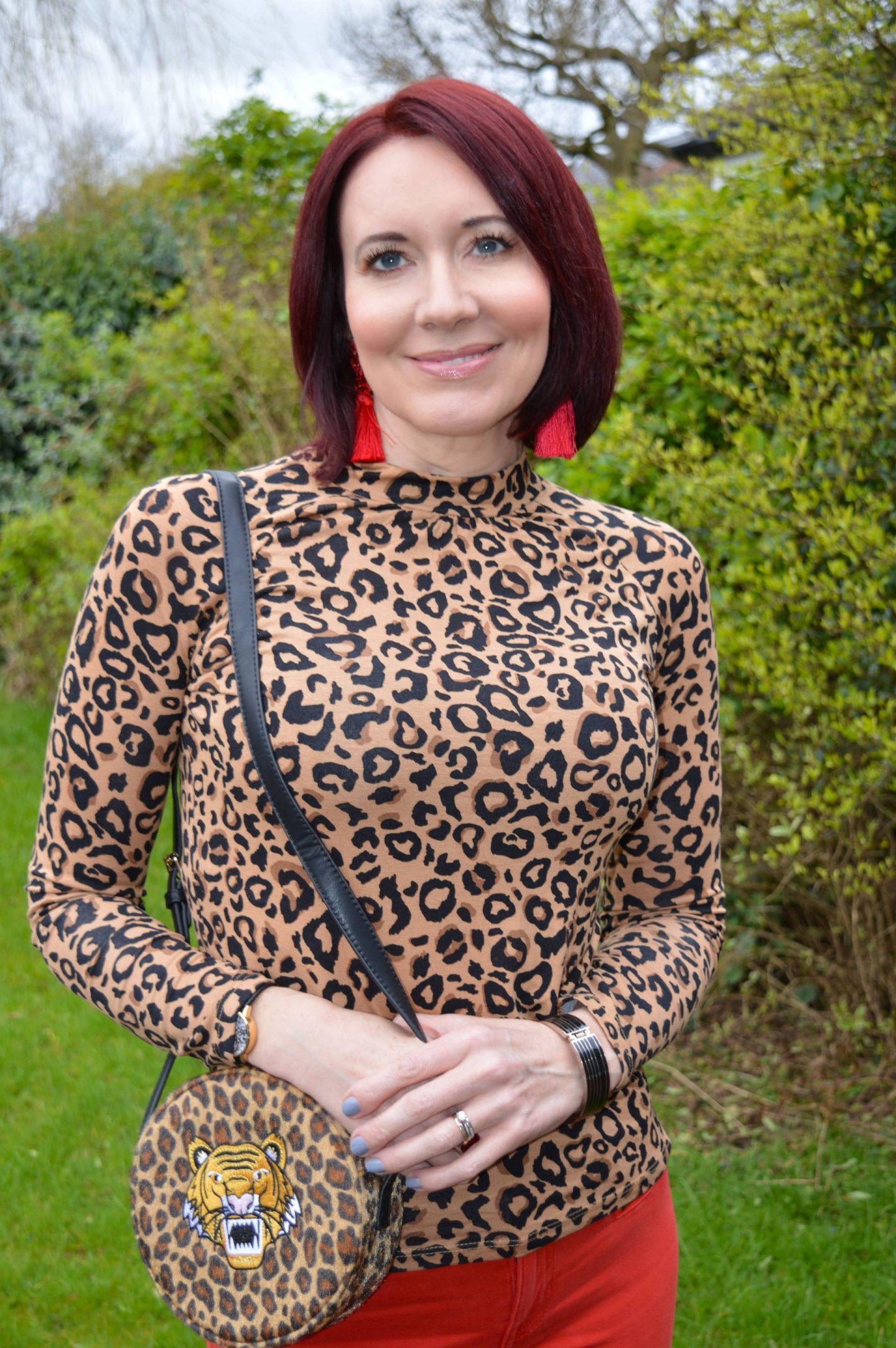 Red Herring leopard print top, Skinny Dip leopard print bag