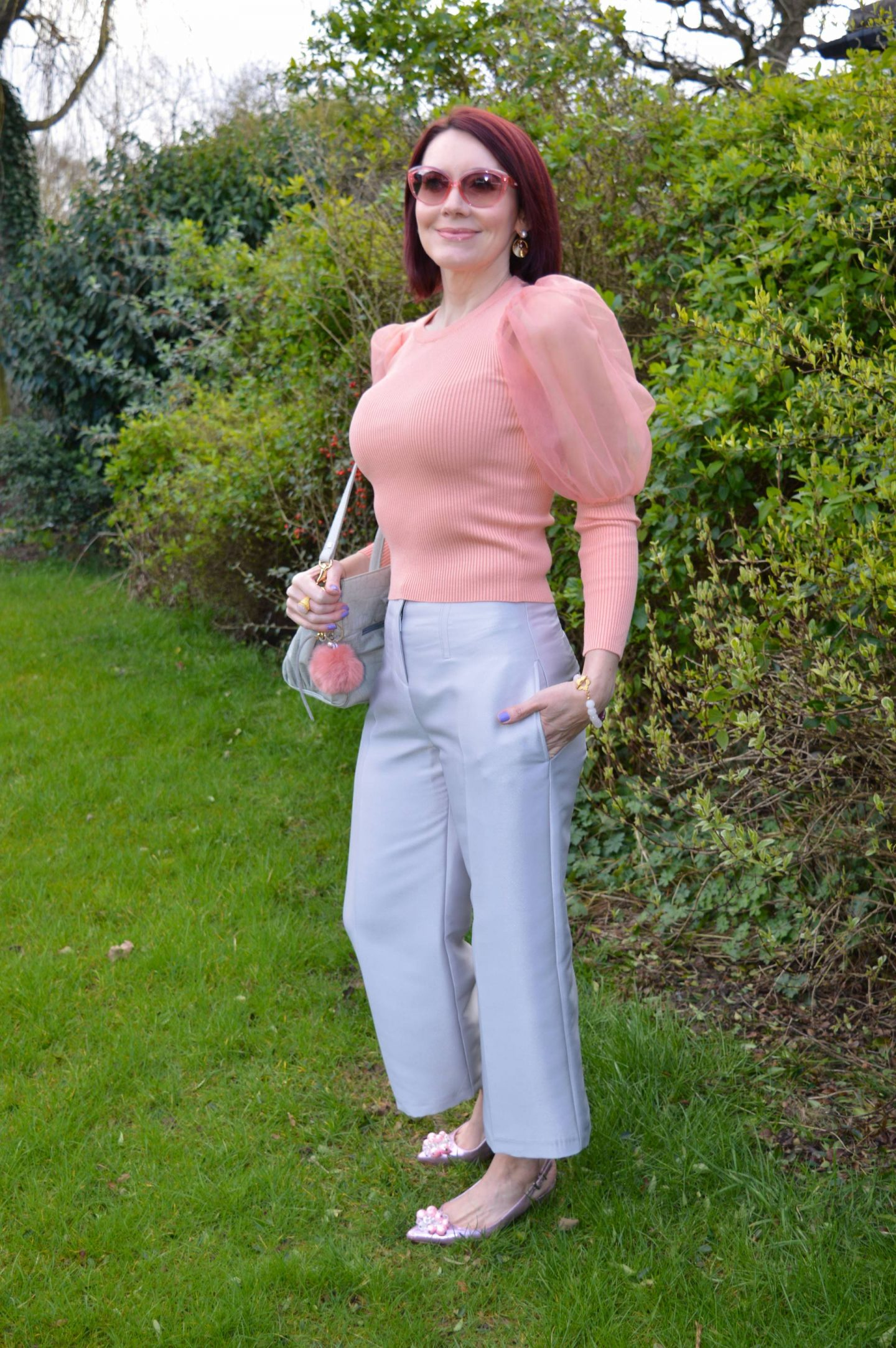 Pink Organza Puff Sleeves and Silver Cropped Trousers