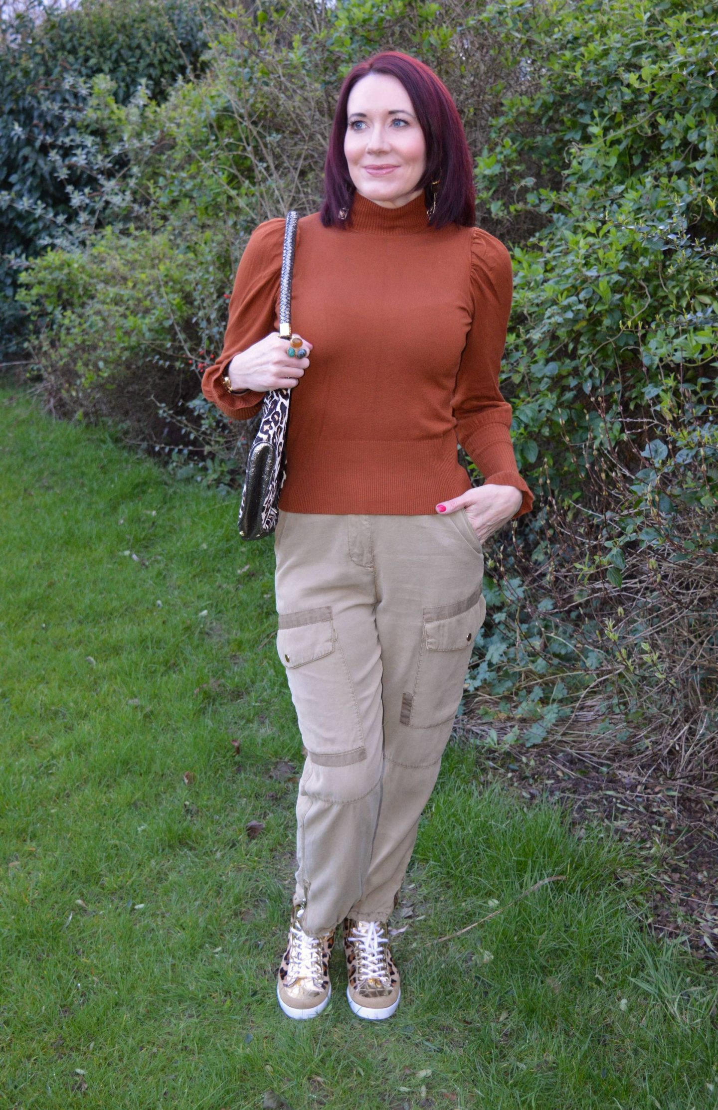 Rust Frill Sleeve Jumper and Cargo Trousers